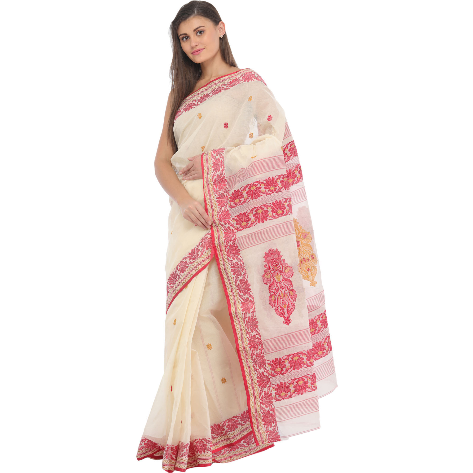 Ivory and Red Purbasthali Tangail Sari from Bengal with Woven Floral Motifs on Pallu