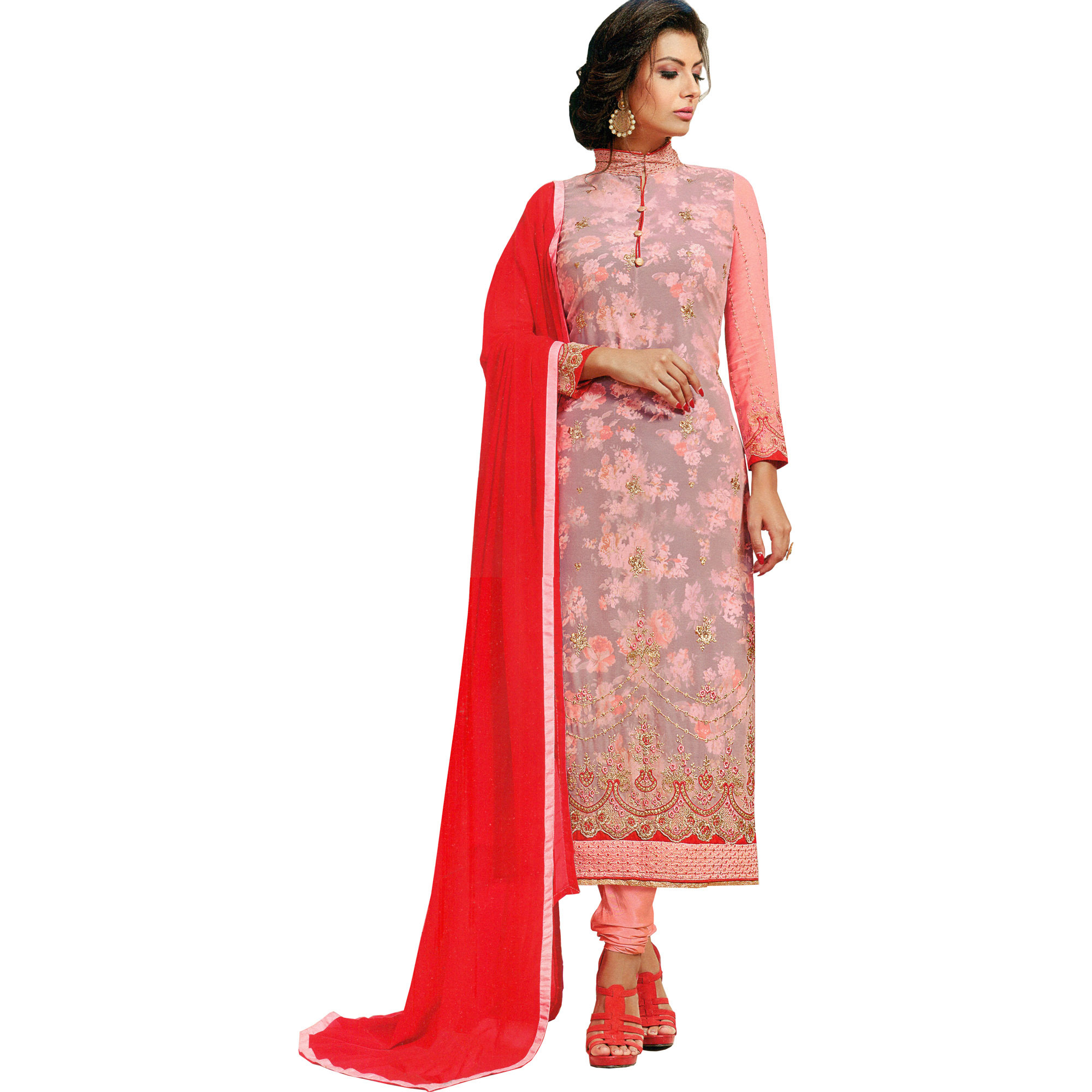 Impatiens-Pink Long Choodidaar Kameez Suit with Floral-Print and Embroidery in Zari Thread