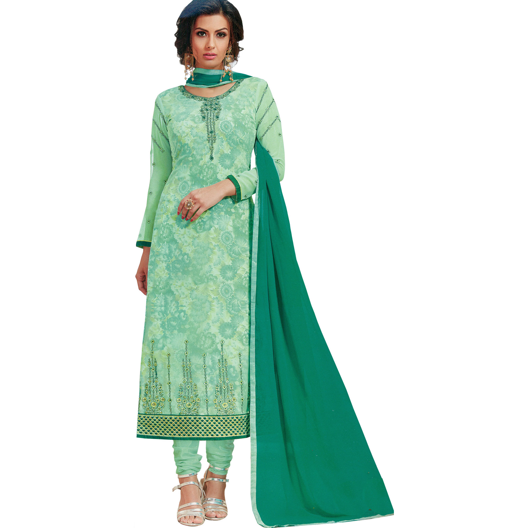 Misty-Jade Long Choodidaar Kameez Suit with Printed Flowers and Embroidery