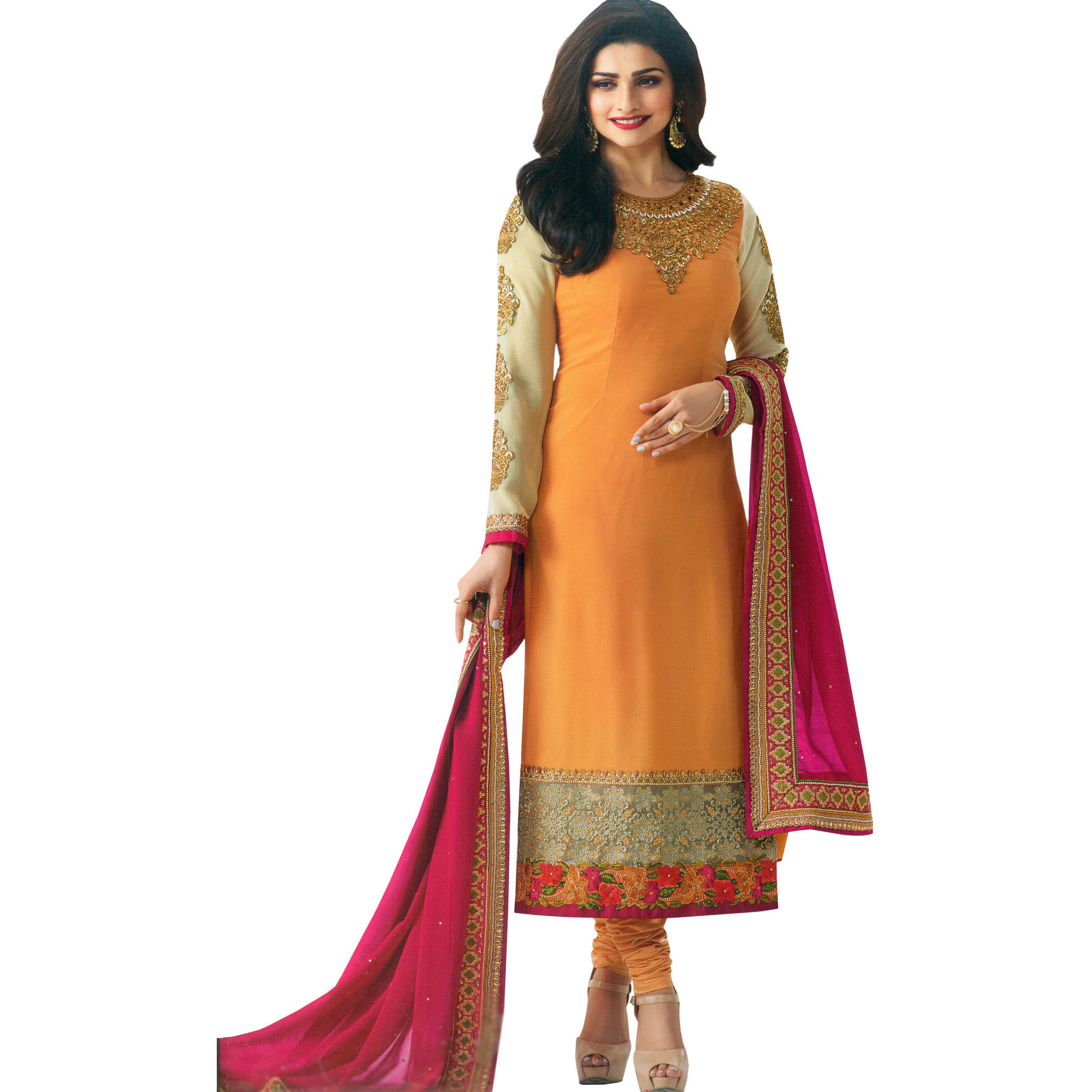Marigold and Pink Designer Long Choodidaar Kameez Suit with Embroidery and Crystals