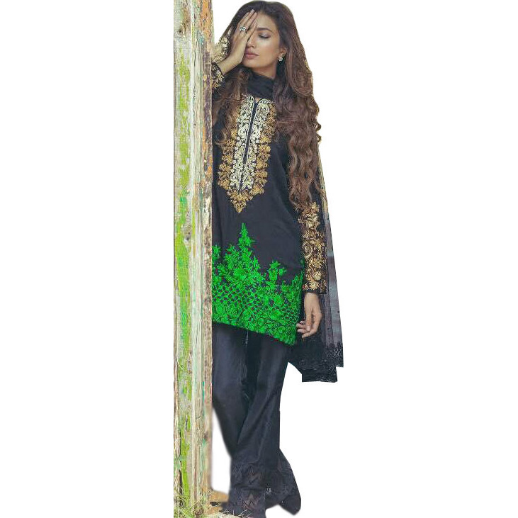 Phantom-Black Parallel Salwar Suit with Floral-Embroidered Patches