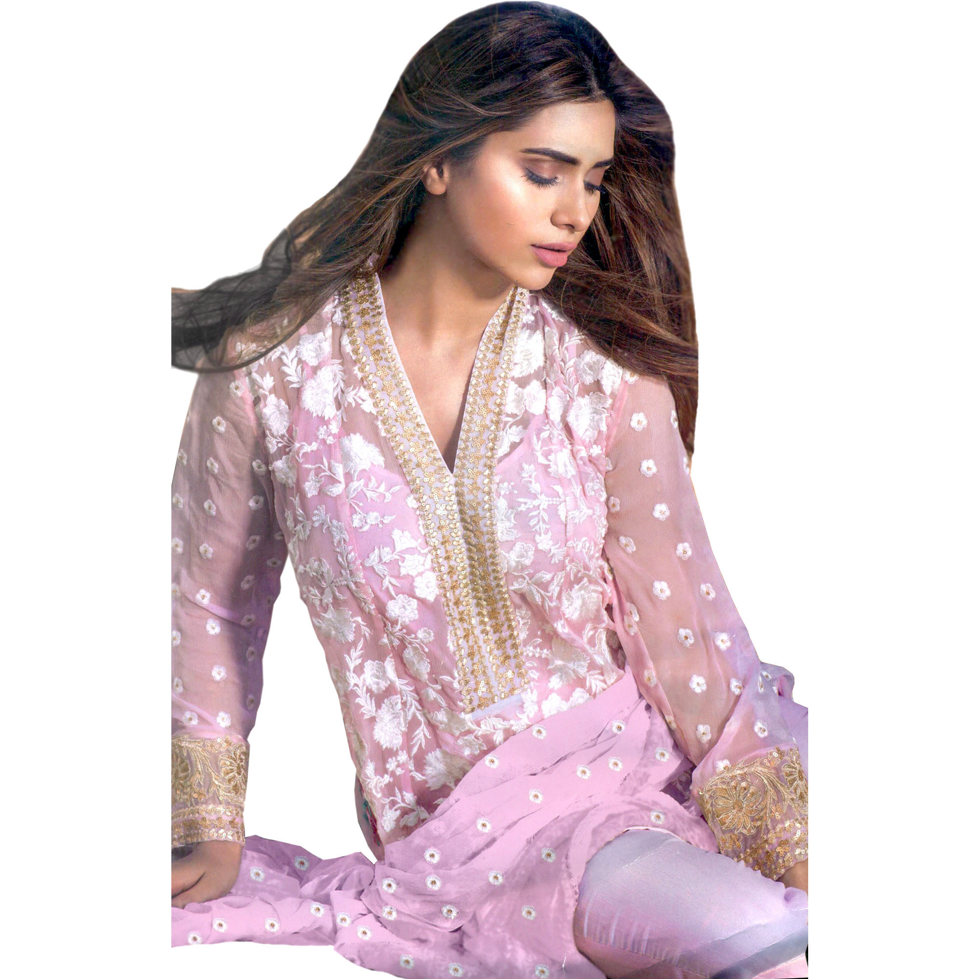 Prism-Pink Parallel Salwar Suit with Phulkari Embroidery All-Over