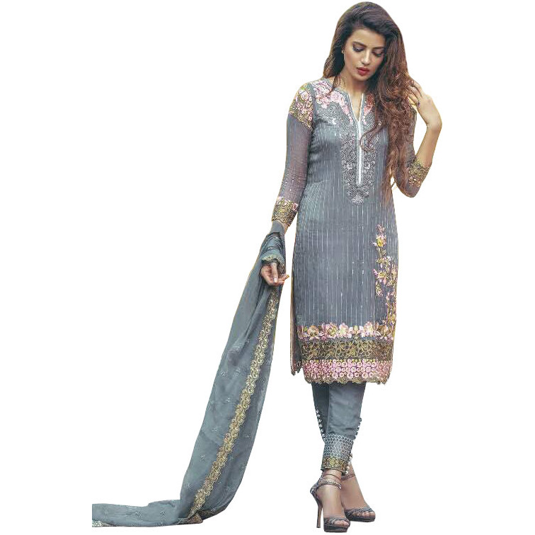 Citadel Designer Parallel Salwar Suit with Floral-Embroidery and Sequins