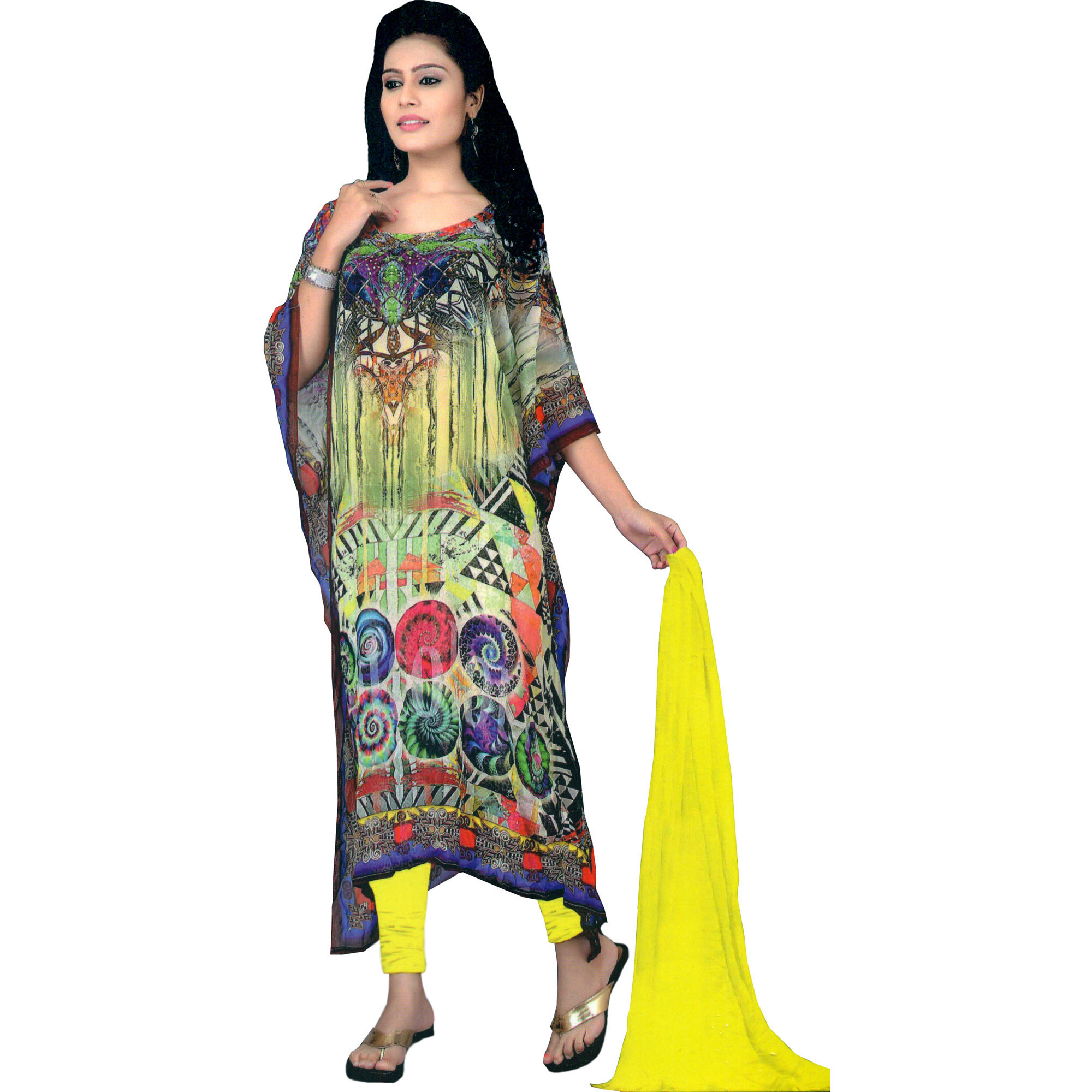 Multicolor Digital-Printed Choodidaar Kaftan Suit with Stone-work on Neck