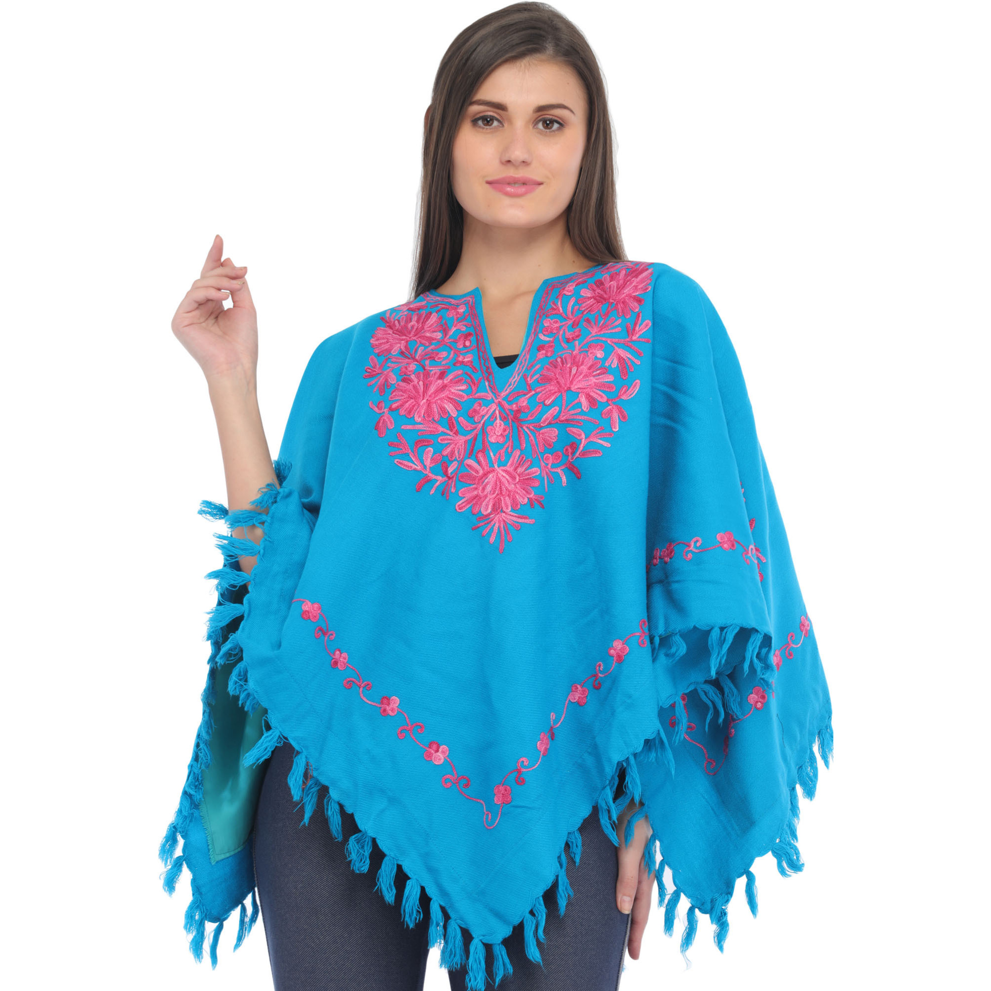 Vivid-Blue Poncho from Kashmir with Ari-Embroidered Flowers on Neck