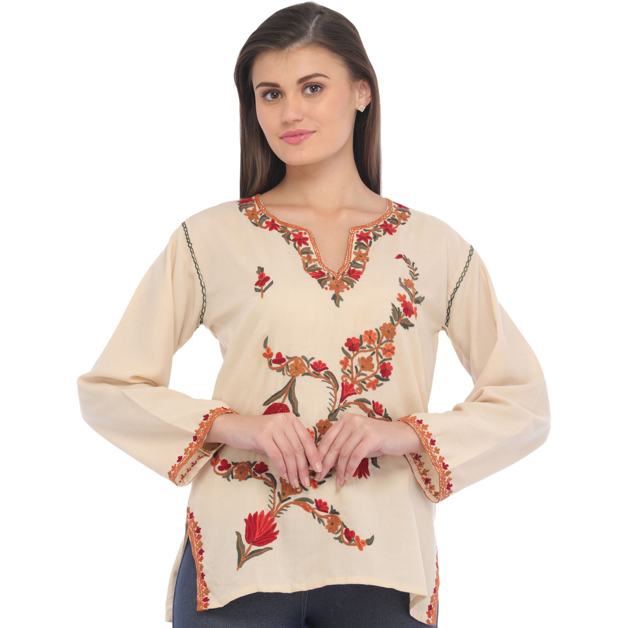 White-Smoke Short Kurti from Kashmir with Ari Hand-Embroidery