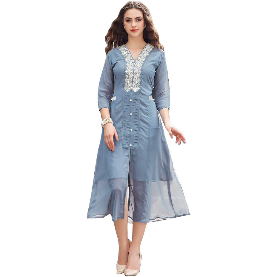 Gray Designer Long Dress with Embroidery