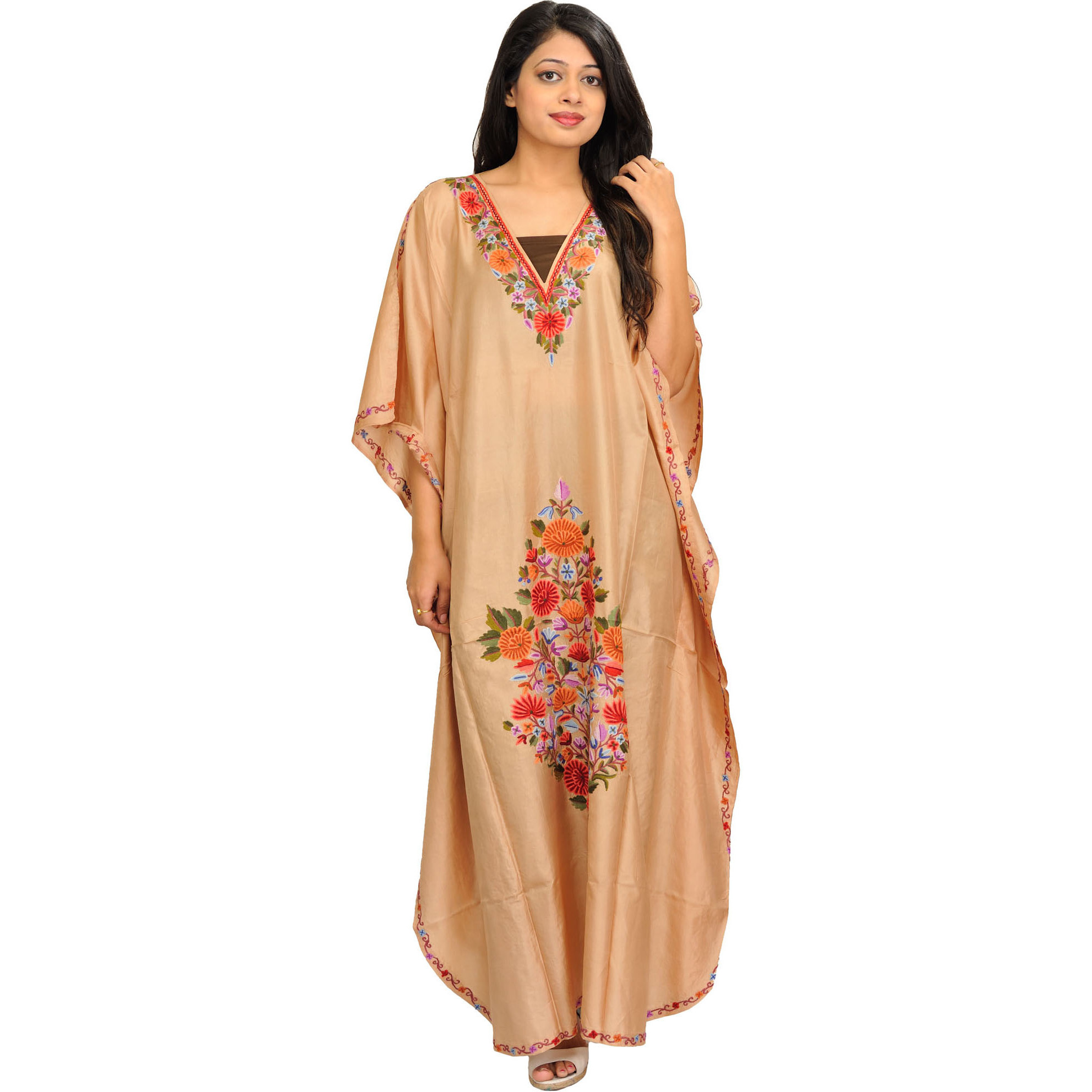 Desert-Dust Kaftan from Kashmir with Ari-Embroidered Flowers by Hand
