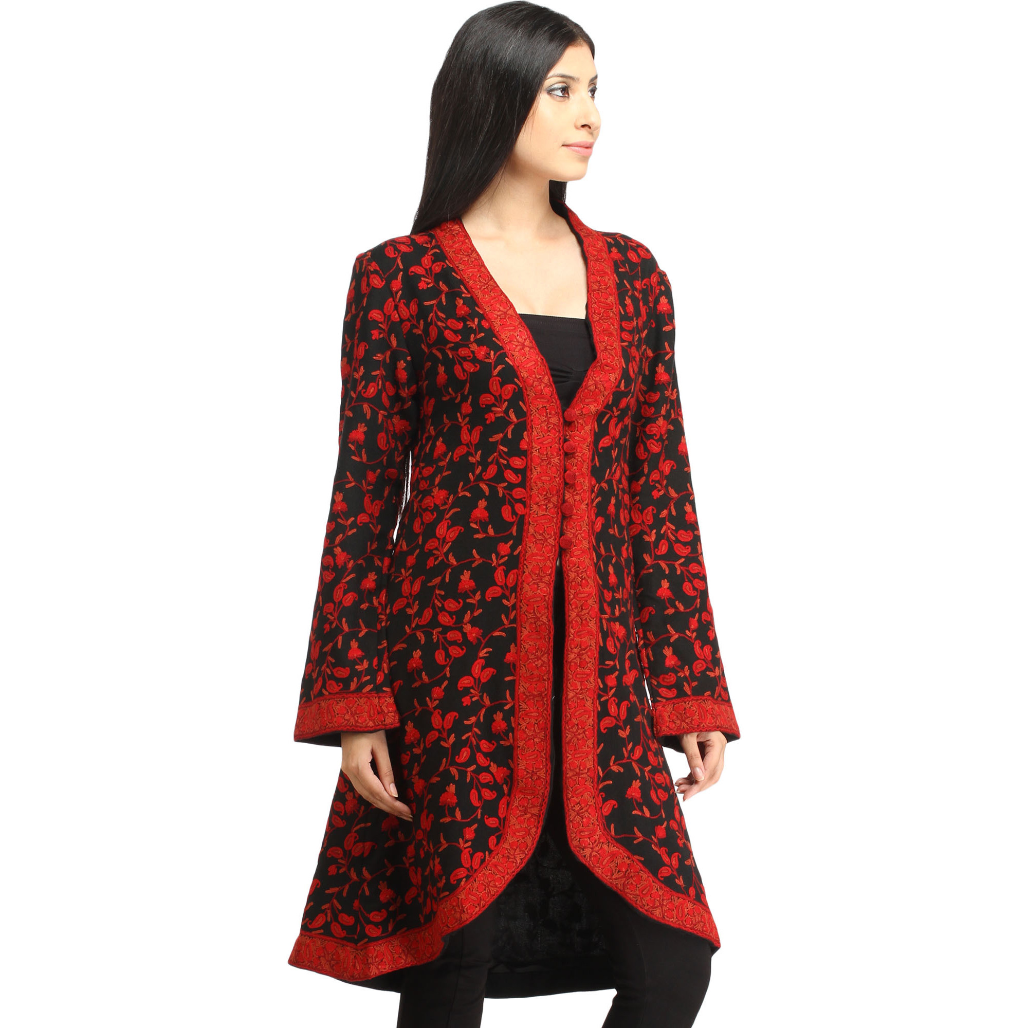 Black and Red Long Jacket from Kashmir with Ari Hand-Embroidered Paisleys