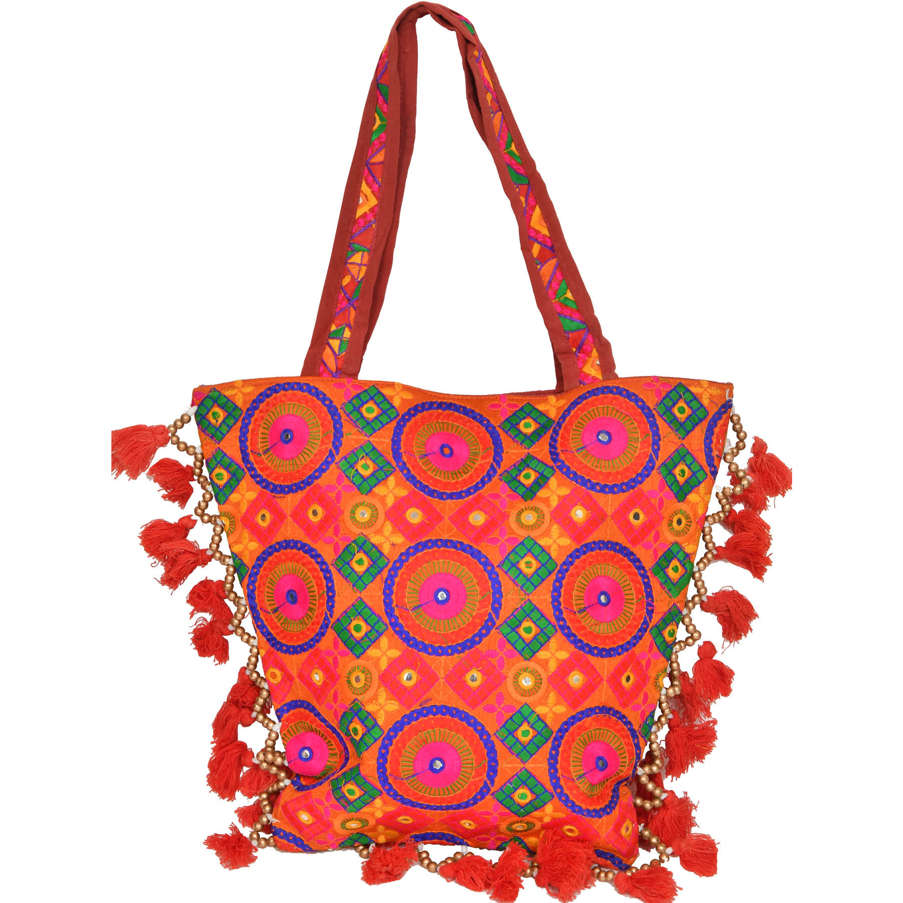 Persimmon-Orange Shopper Bag with Embroidered Chakras and Mirrors