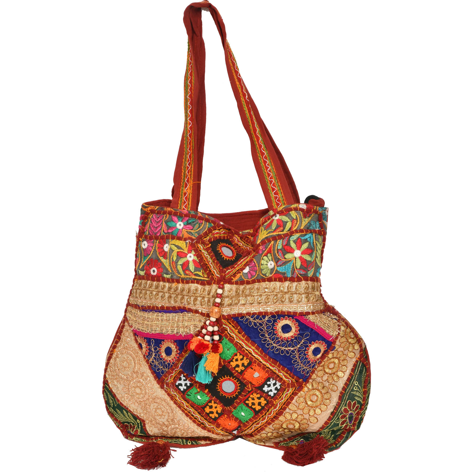 Earth-Red Shoulder Bag from kutch with Embroidery and Large Mirrors