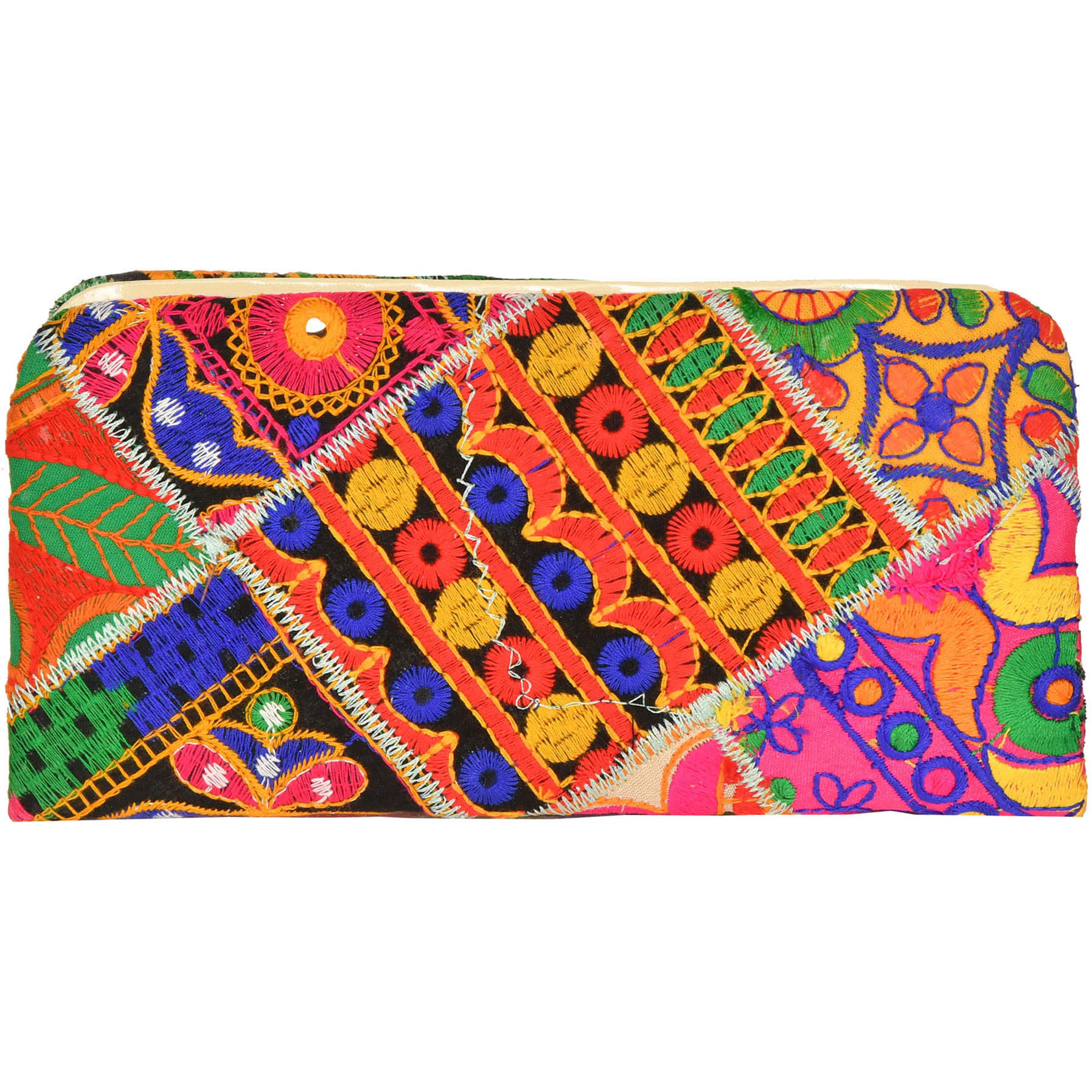 Multicolor Embroidered Clutch Bag with Mirrors