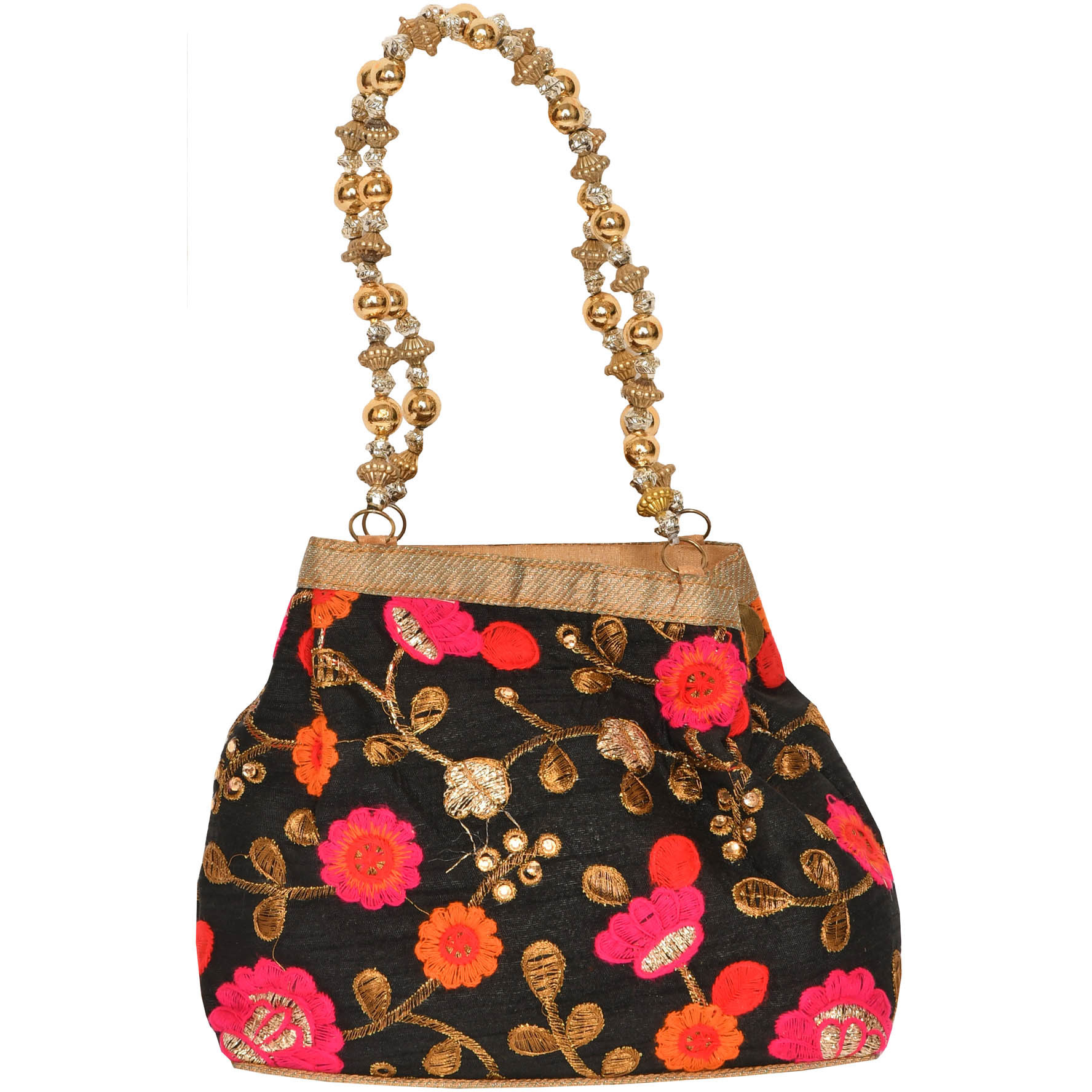 Caviar-Black Bracelet Bag with Embroidered Flowers and Beaded Handles