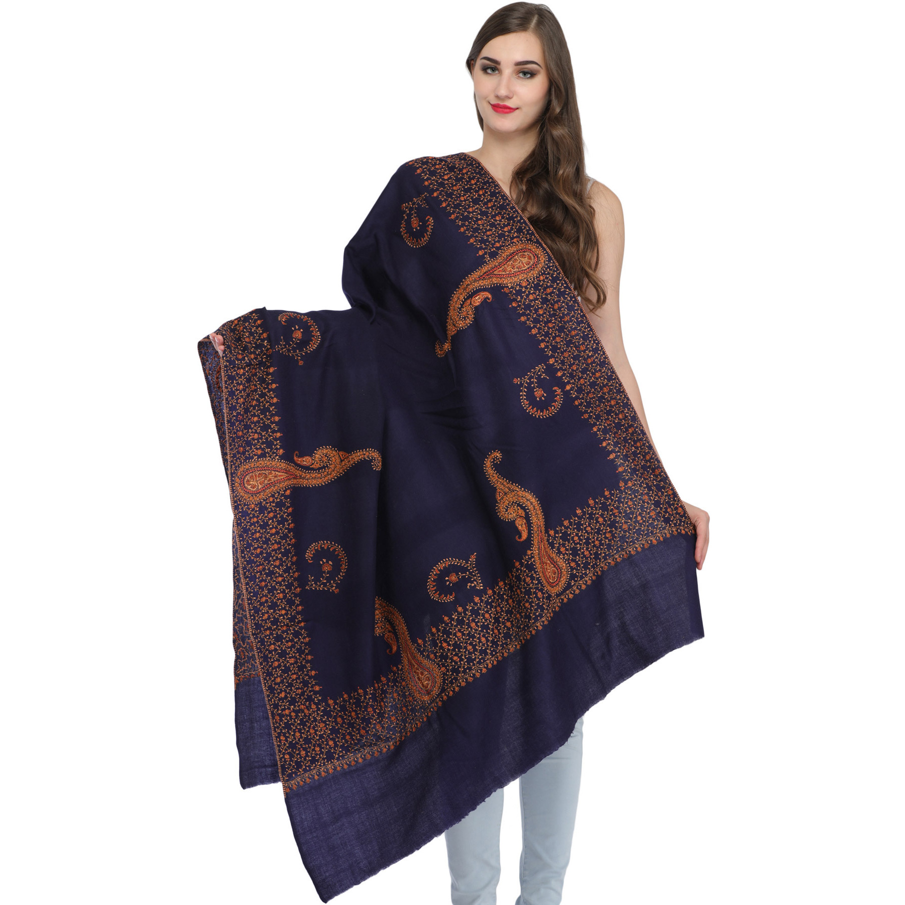 Patriot-Blue Tusha Shawl from Kashmir with Sozni Hand-Embroidery