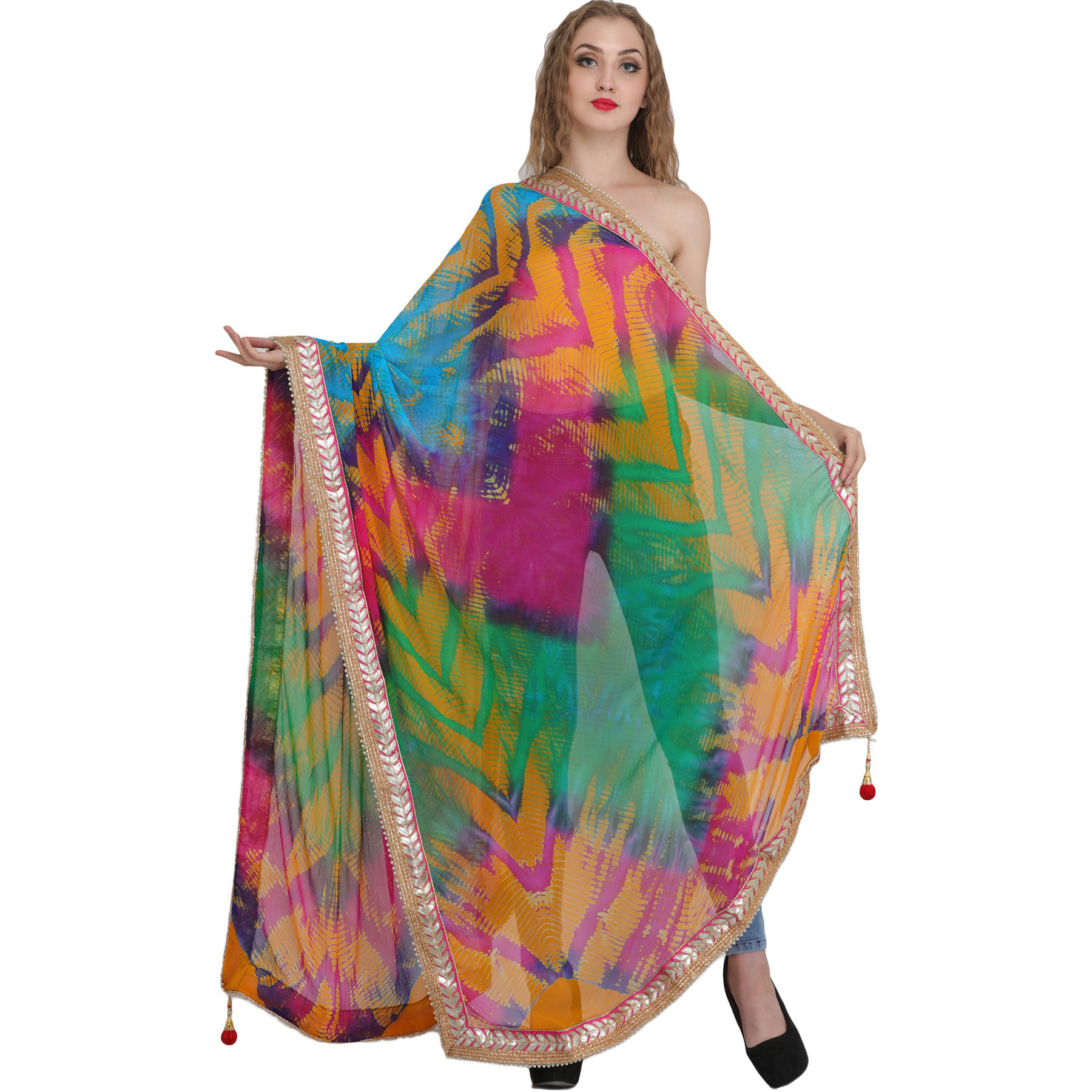 Multicolored Tie-Dye Printed Dupatta from Jodhpur with Gota Border
