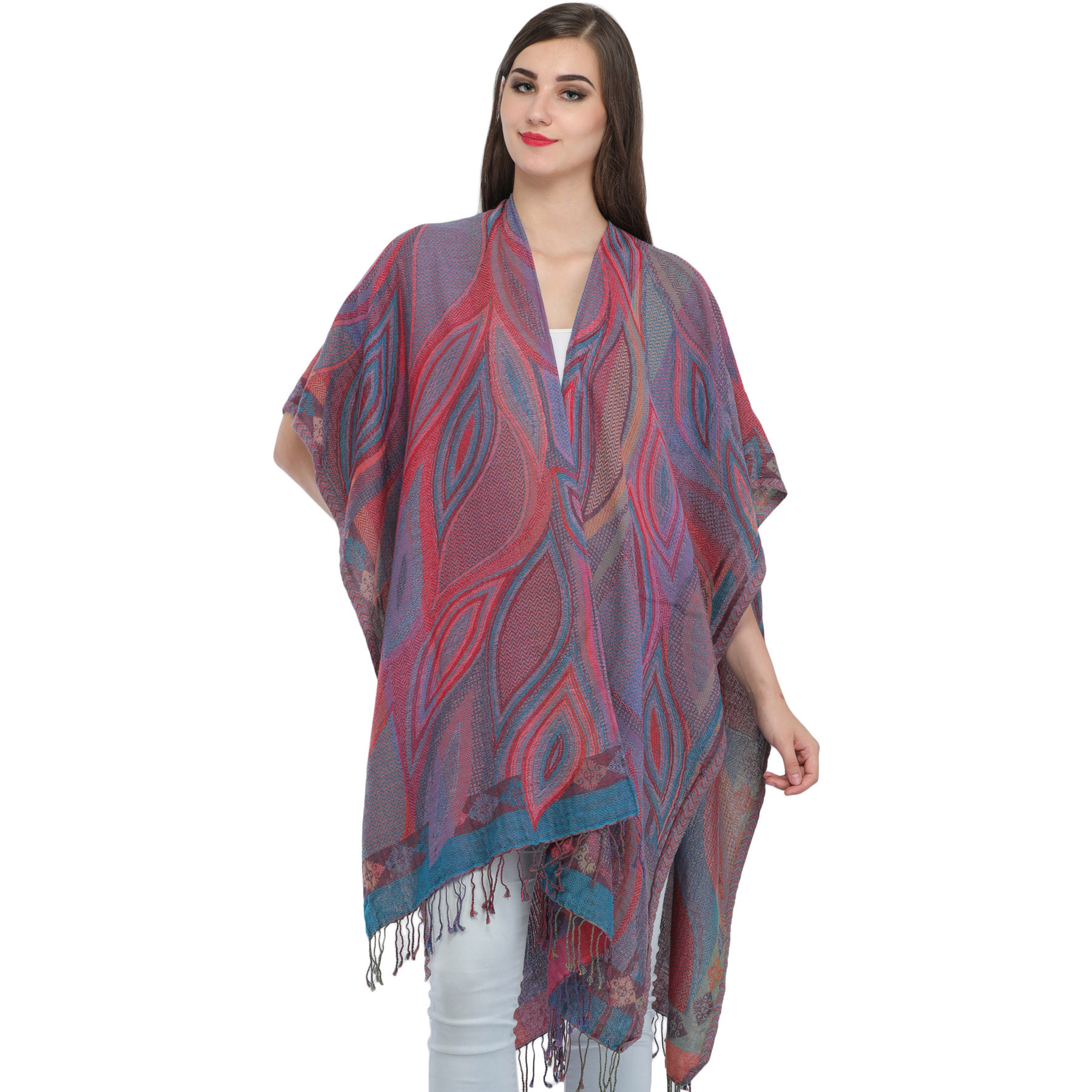 Multicolored Jamawar Cape with Woven Leaves