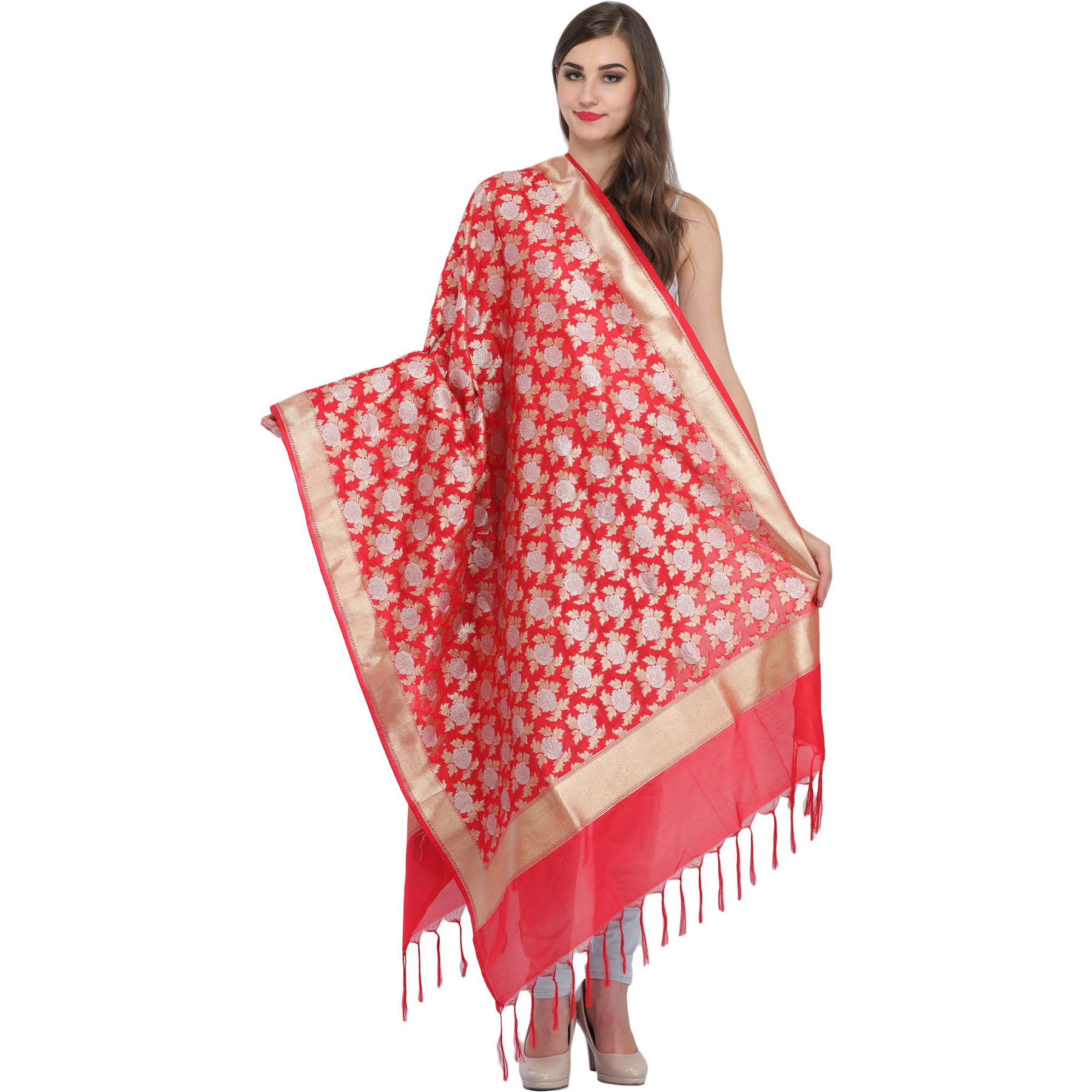 Banarasi Brocaded Dupatta with Woven-Roses and Golden Border