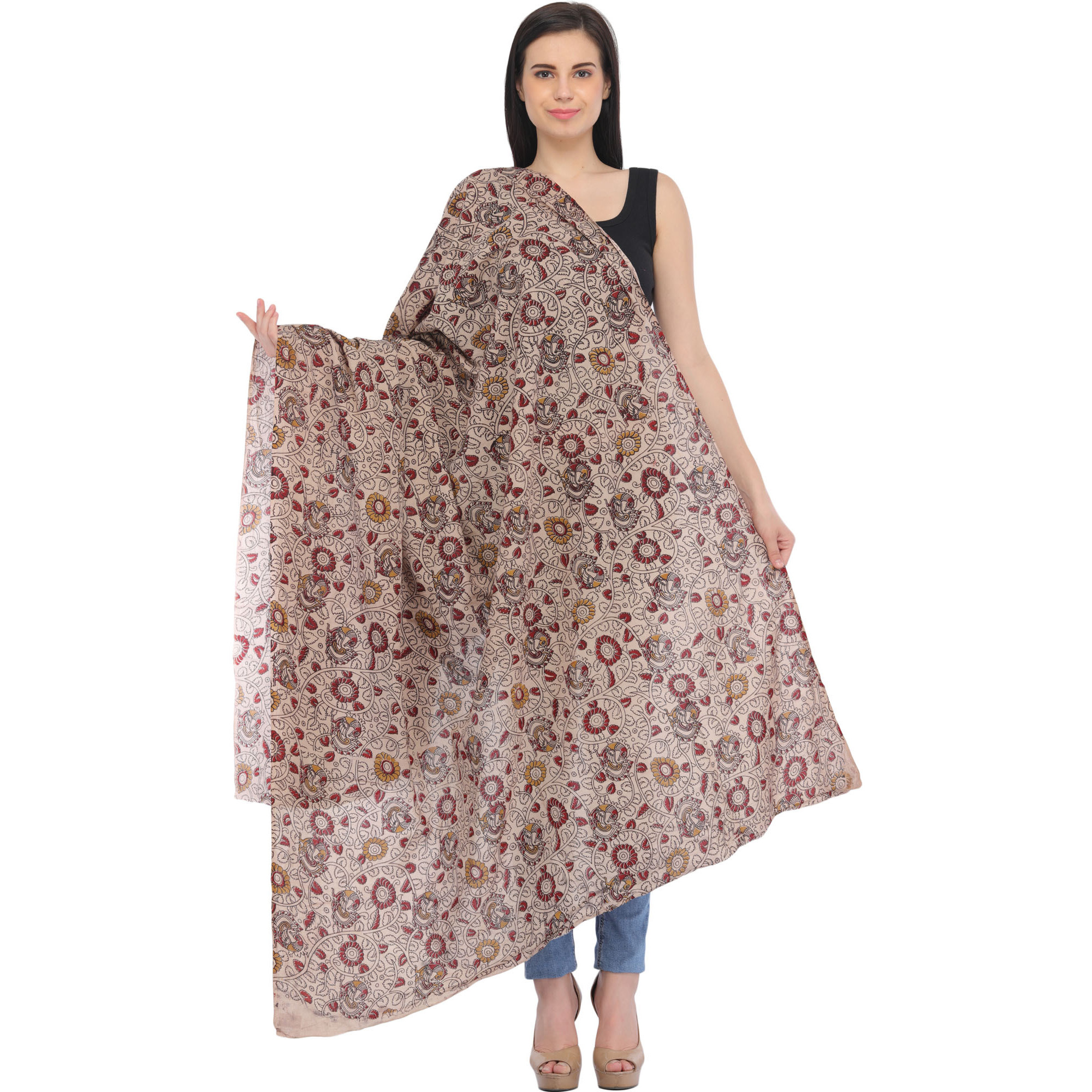 Whisper-Pink Kalamkari Hand-Painted Dupatta from Andhra Pradesh