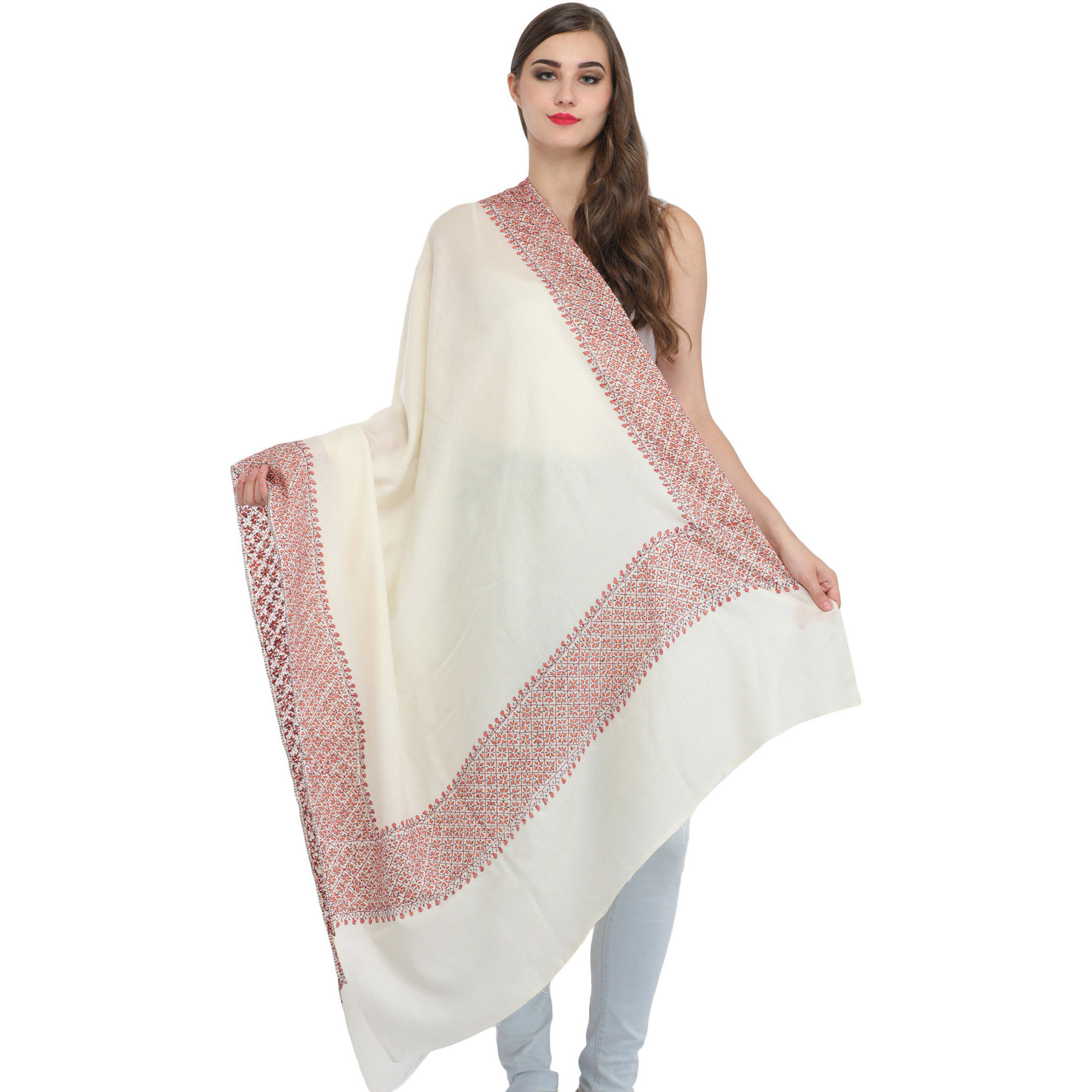Ivory Tusha Shawl from Kashmir with Needle Hand-Embroidery on Border