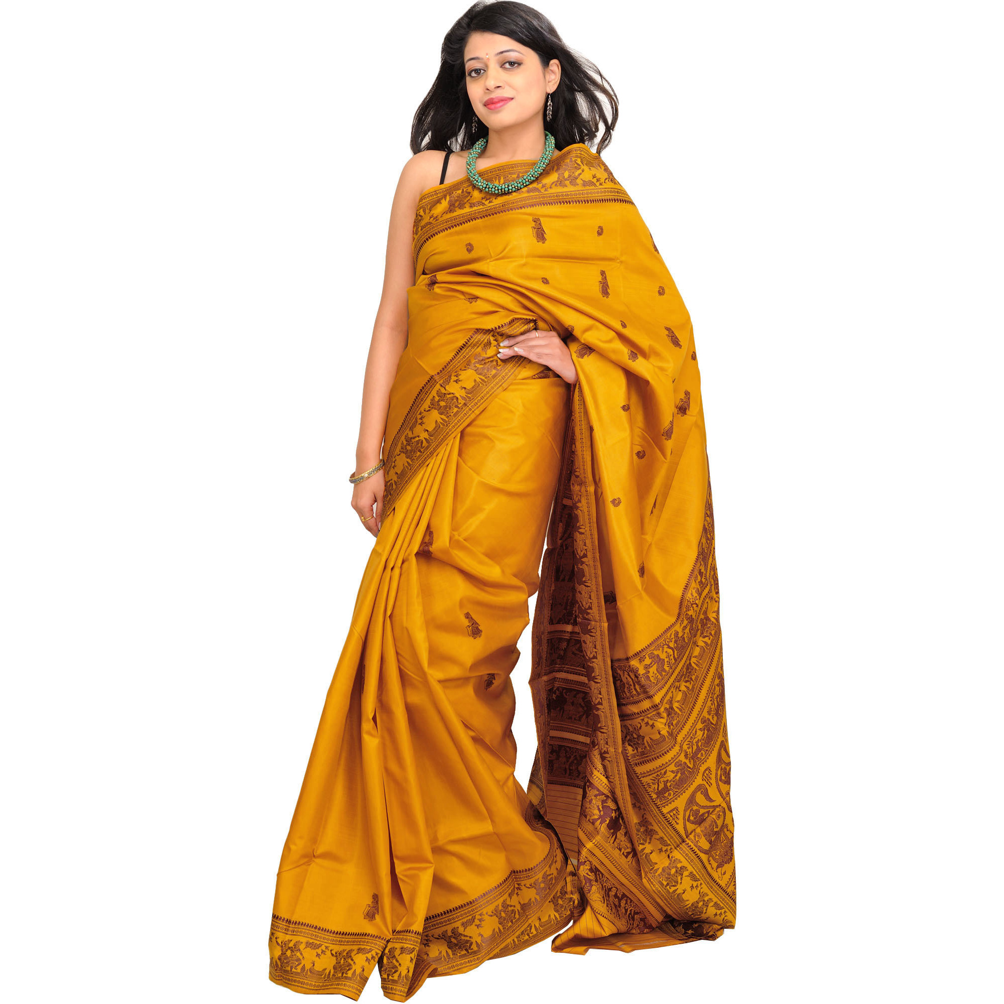 Honey-Gold Baluchari Sari from Kolkata Depicting Hindu Mythological Episodes
