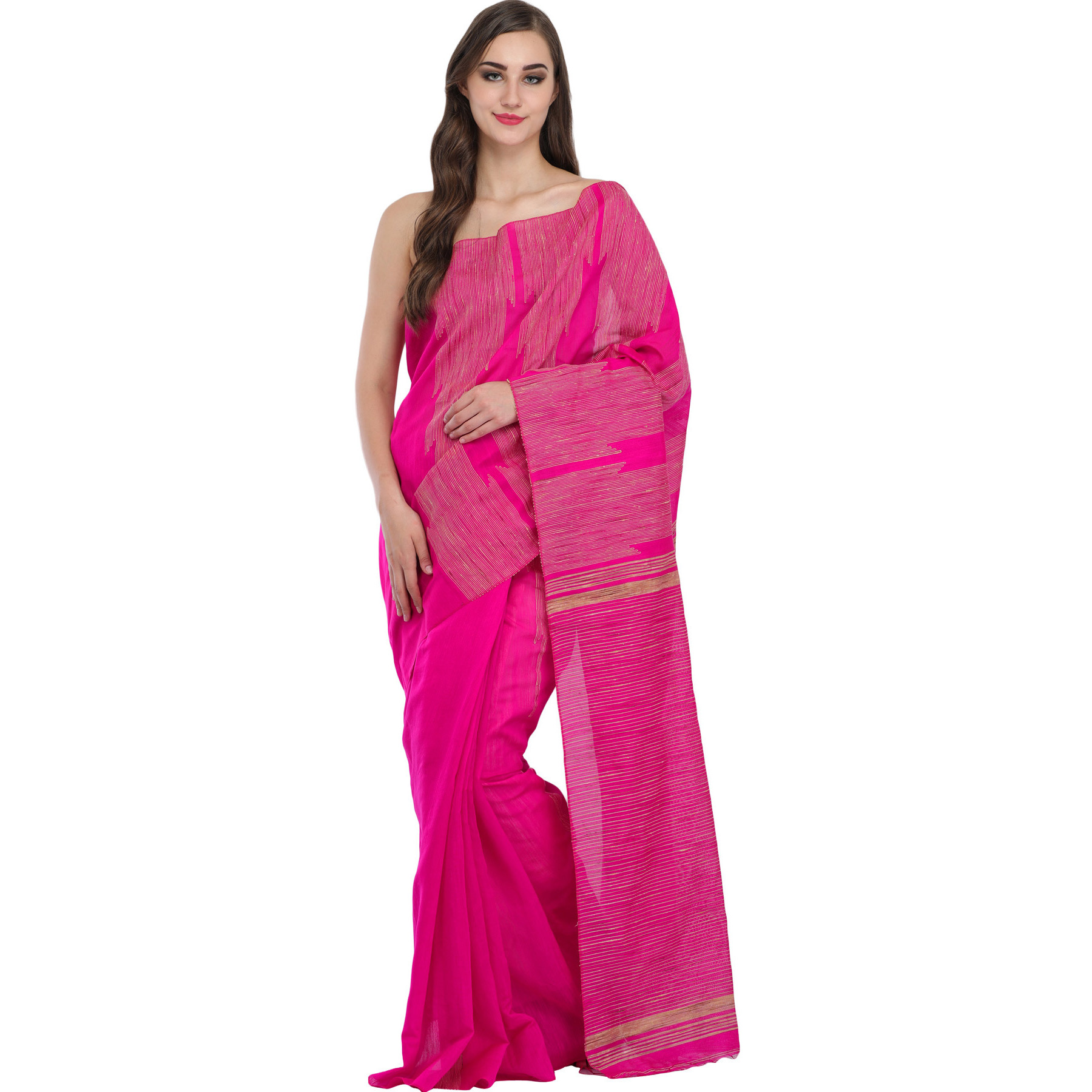 Vibrant-Pink Purbasthali Sari from Jharkhand with Woven Stripes