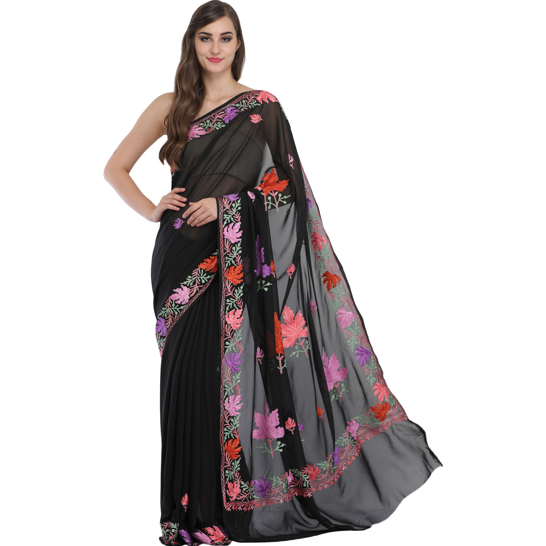 Caviar-Black Kashmiri Sari with Ari-Embroidered Maple Leaves