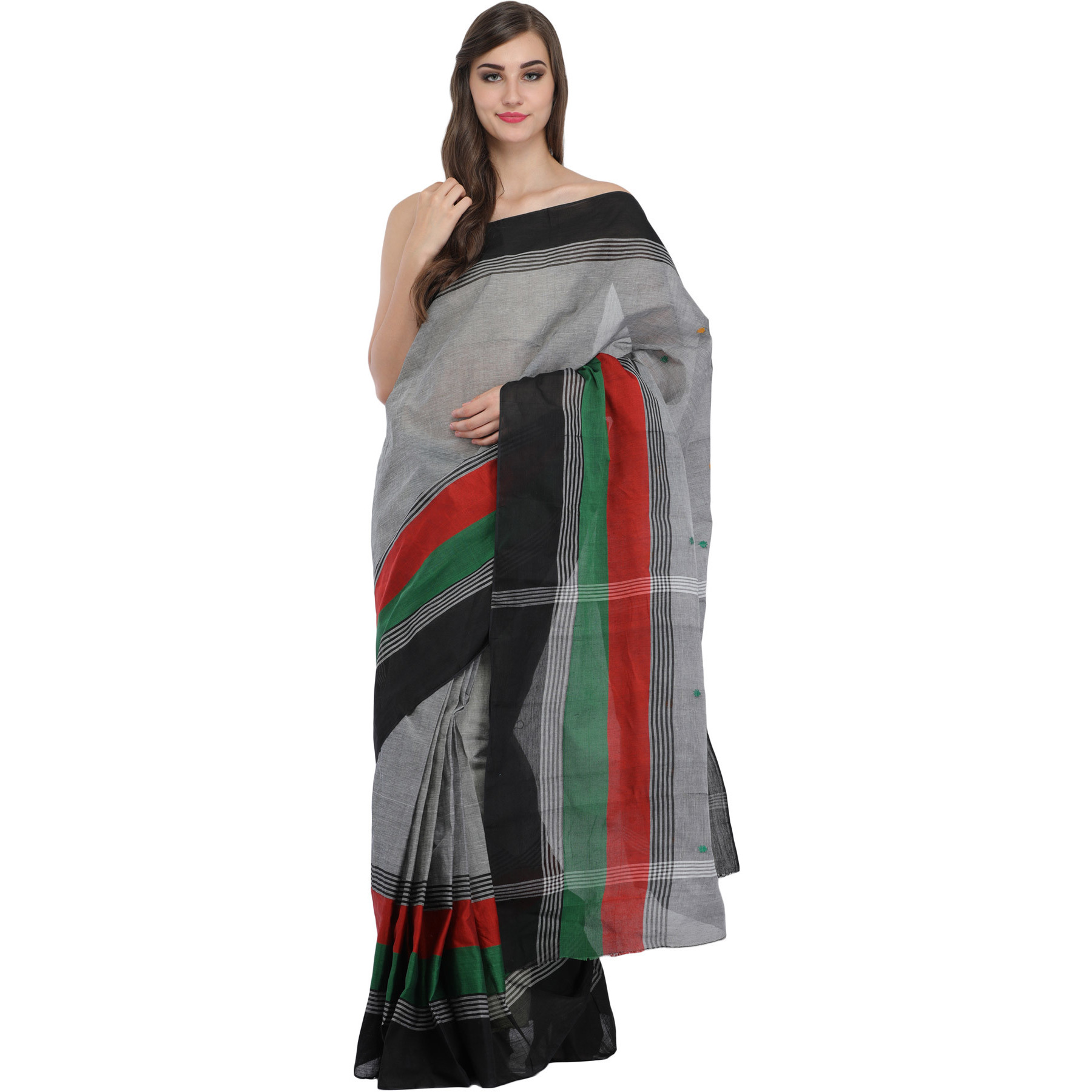 Wild-Dove Sari from Bangladesh with Woven Stripes