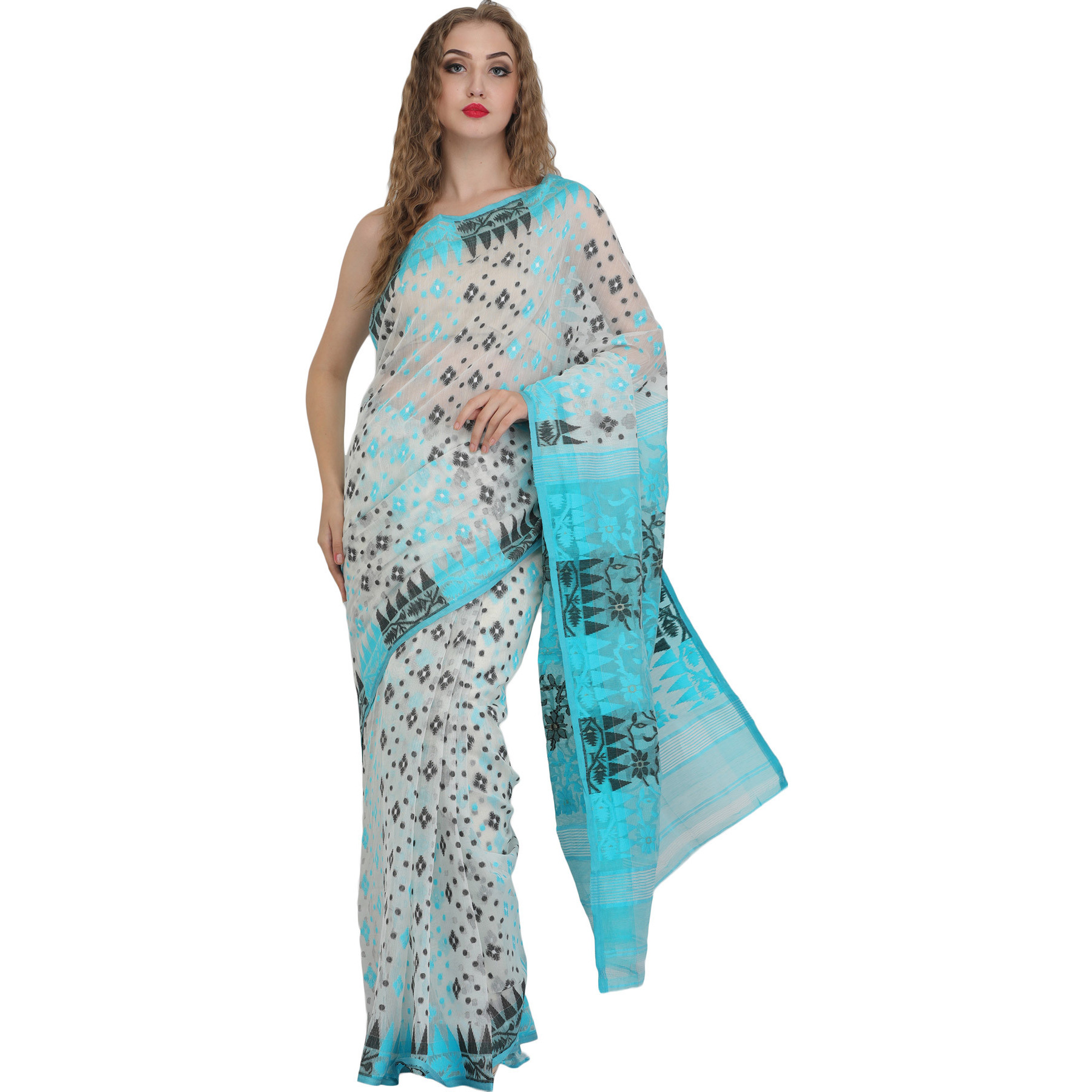 Snow-White Purbasthali Jamdani Sari from Bengal with All-Over Weave
