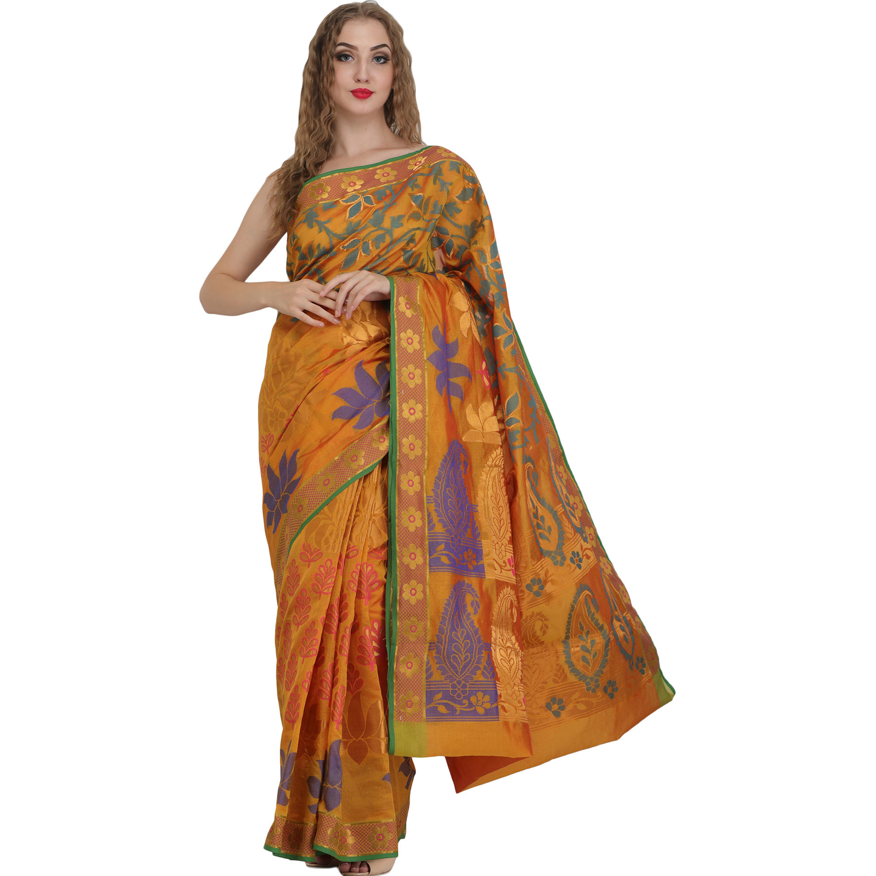 Golden-Nugget Banarasi Sari with Woven Lotuses and Paisleys