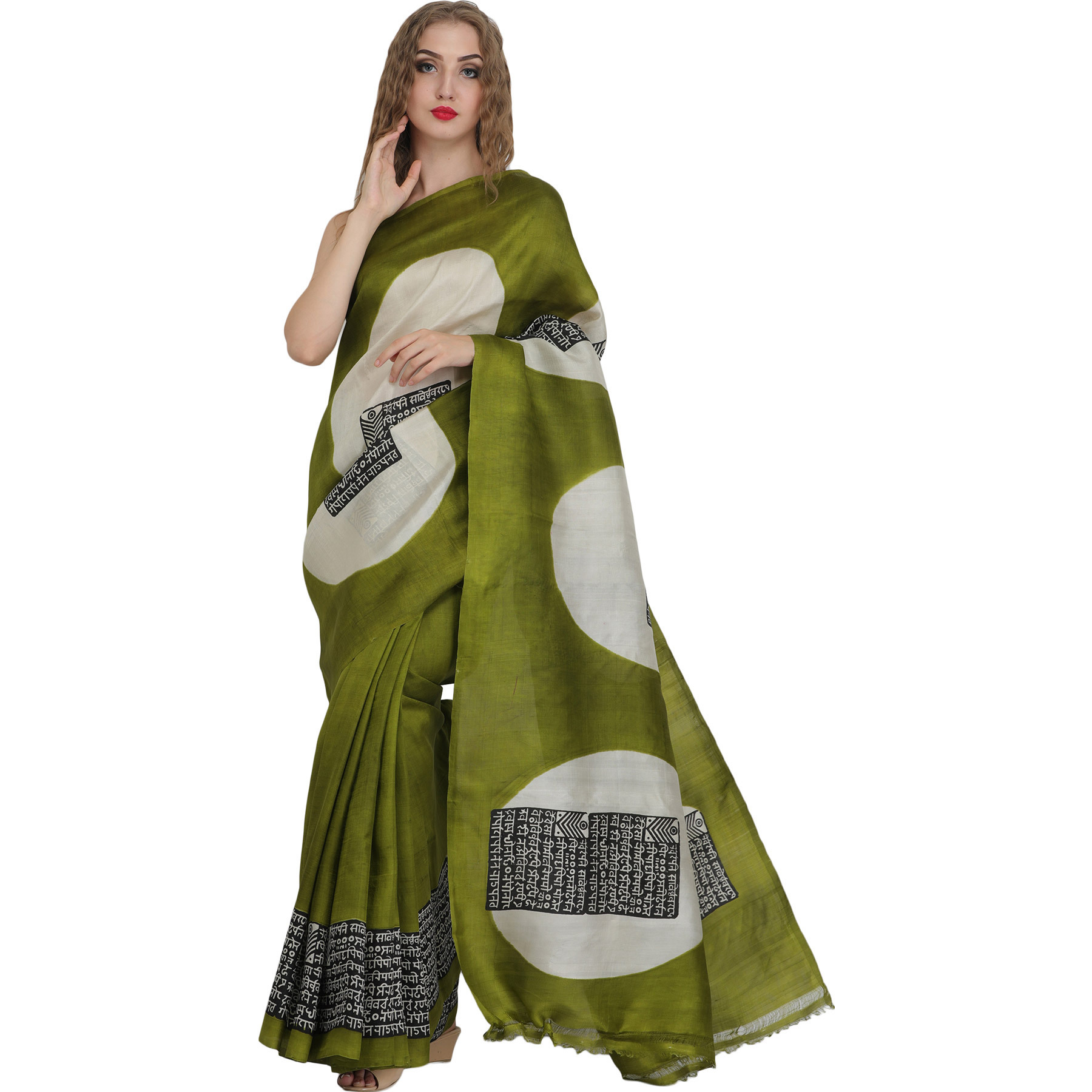 Cedar-Green Sari with Printed Sanatan Dharma Mantra