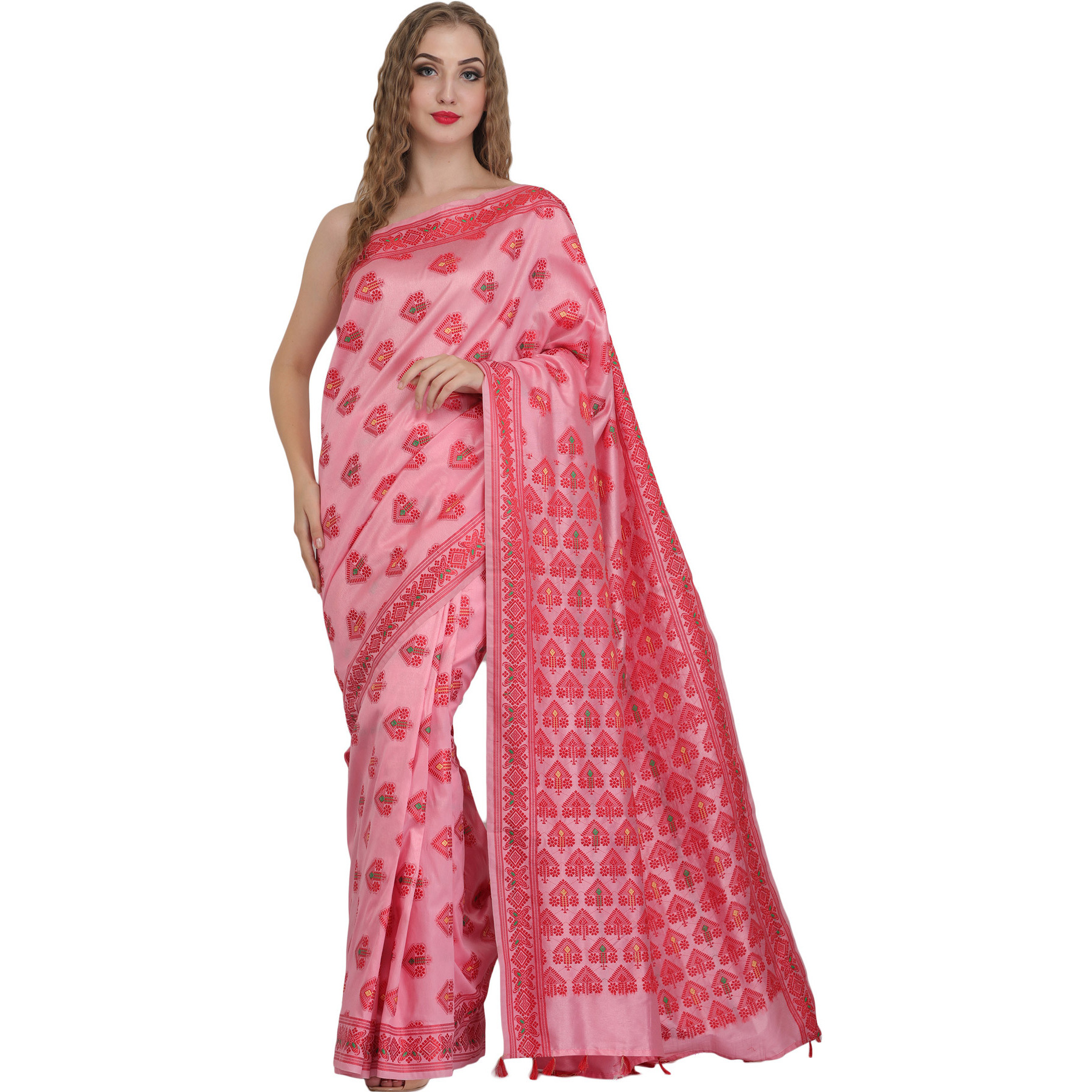 Sari from Assam with Auspicious Bootis Woven  All-Over