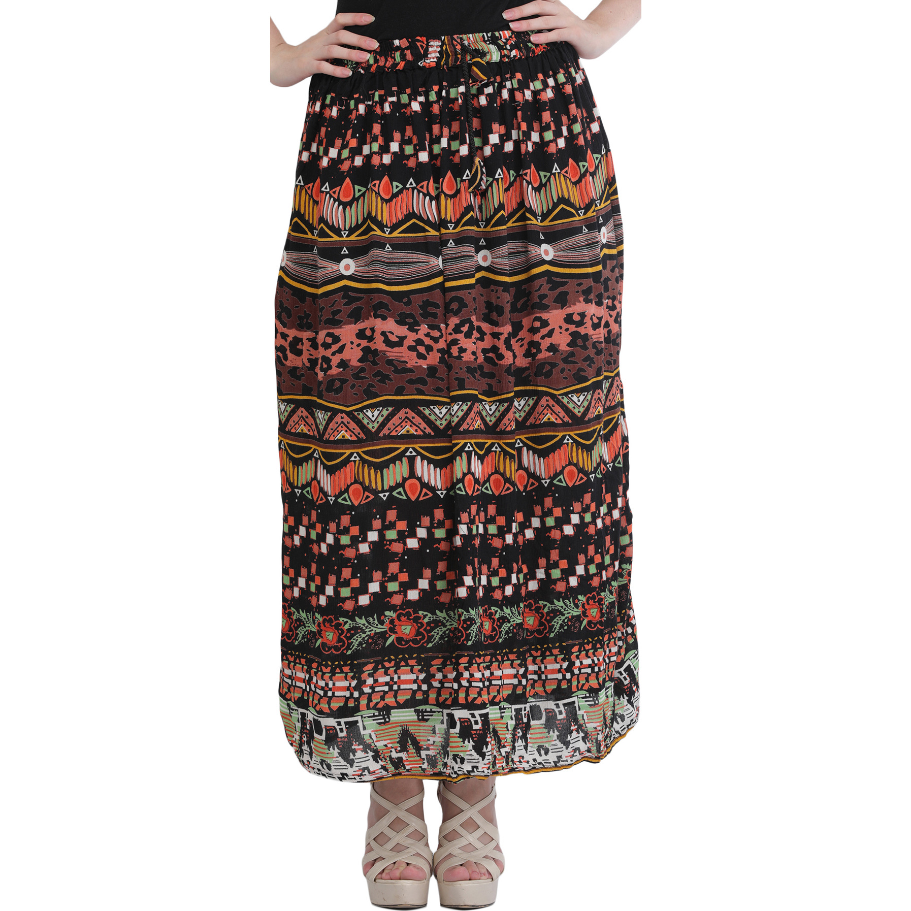 Black Printed Elastic Long Skirt with African Print