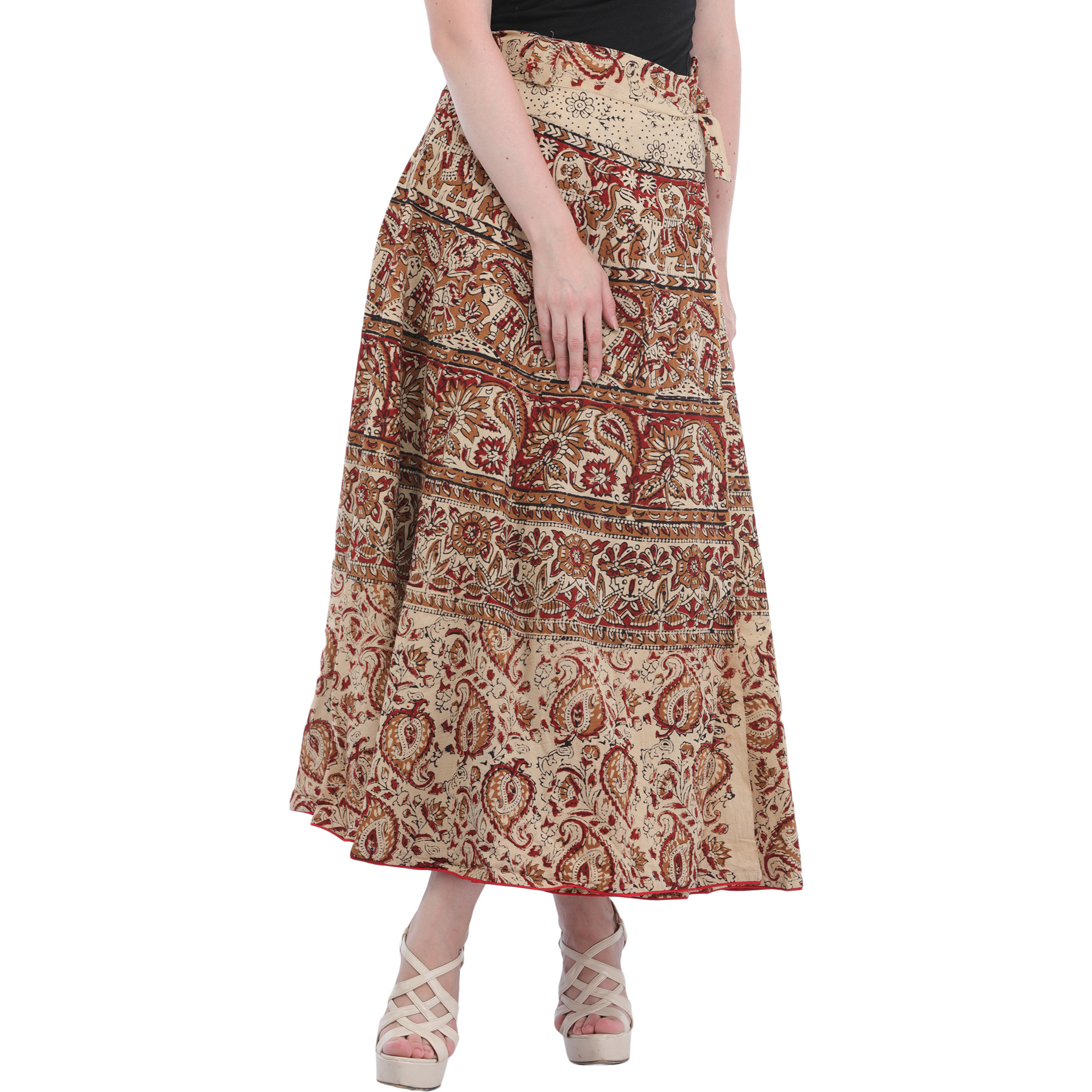Bleached-Sand Wrap-Around Long Skirt from Pilkhuwa with Printed Paisleys and Elephants