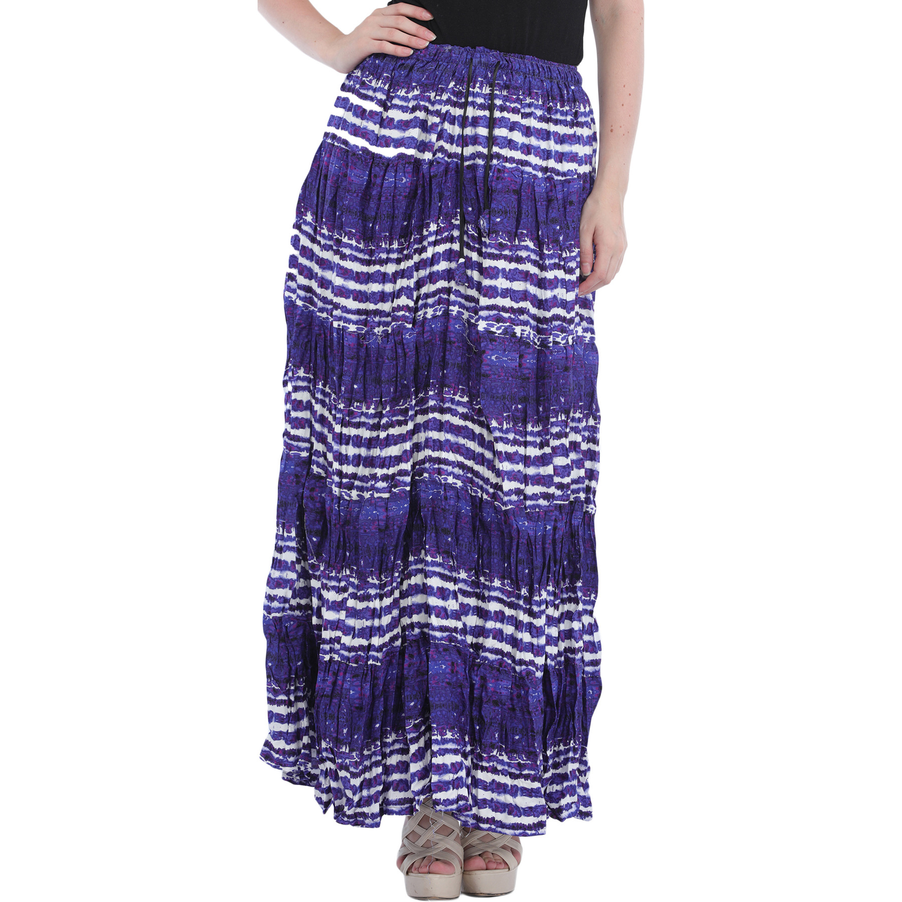 Spectrum-Blue Printed Elastic Long Skirt