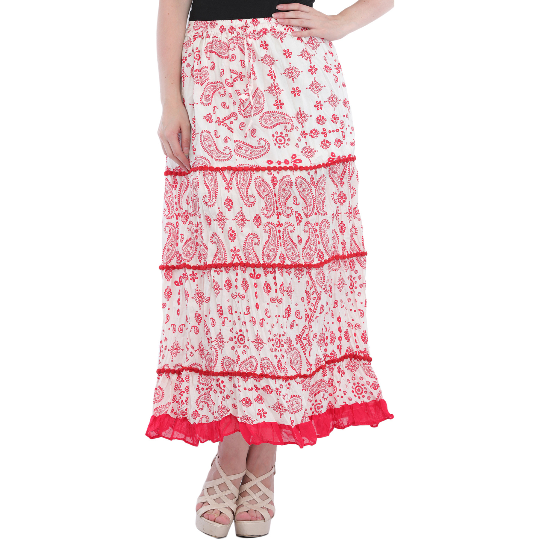 White and Red Long Skirt with Printed Paisleys
