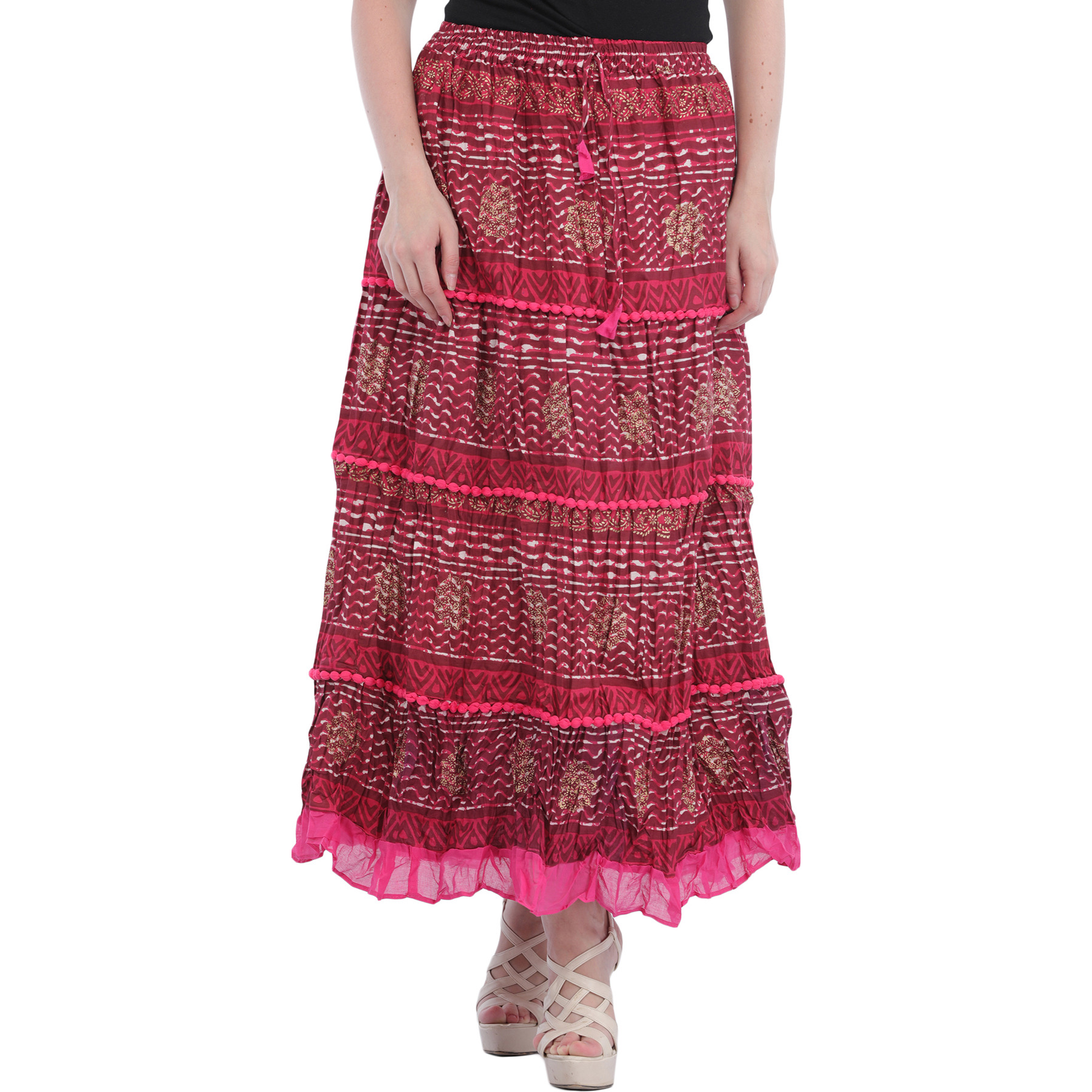 Elastic Long Skirt with Printed Stripes