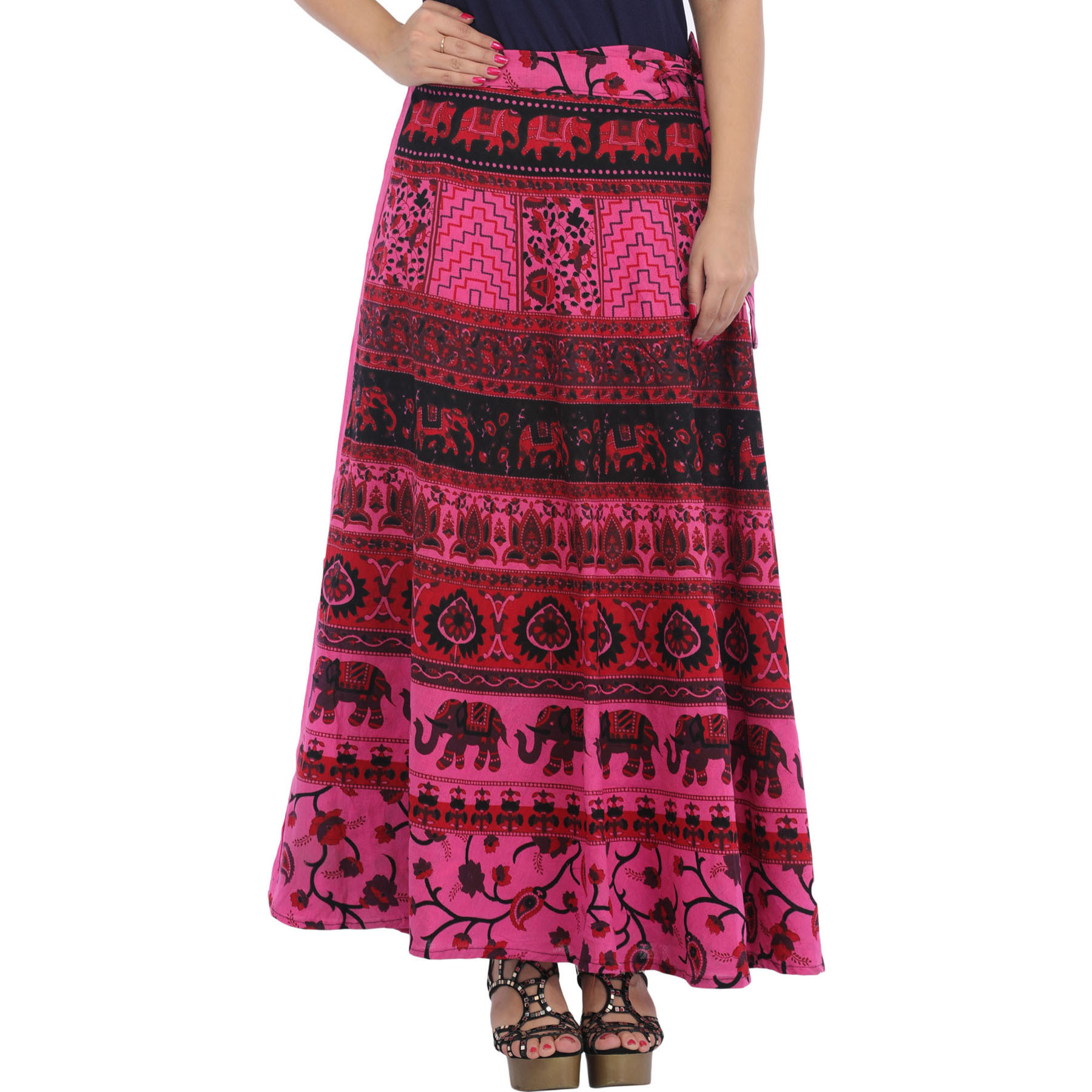 Wrap-Around Long Skirt from Pilkhuwa with Printed Elephants