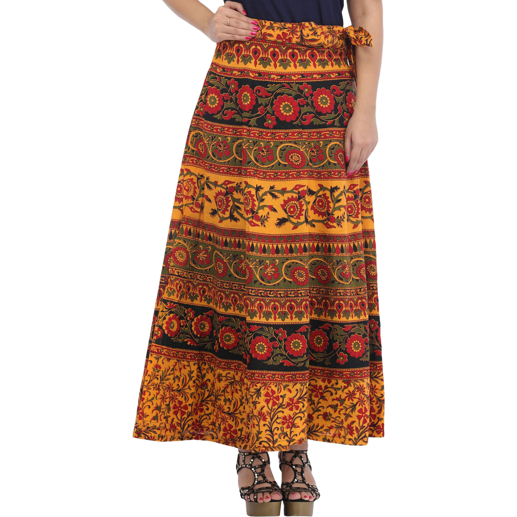 Marigold Floral Printed Wrap-Around Long Skirt from Pilkhuwa