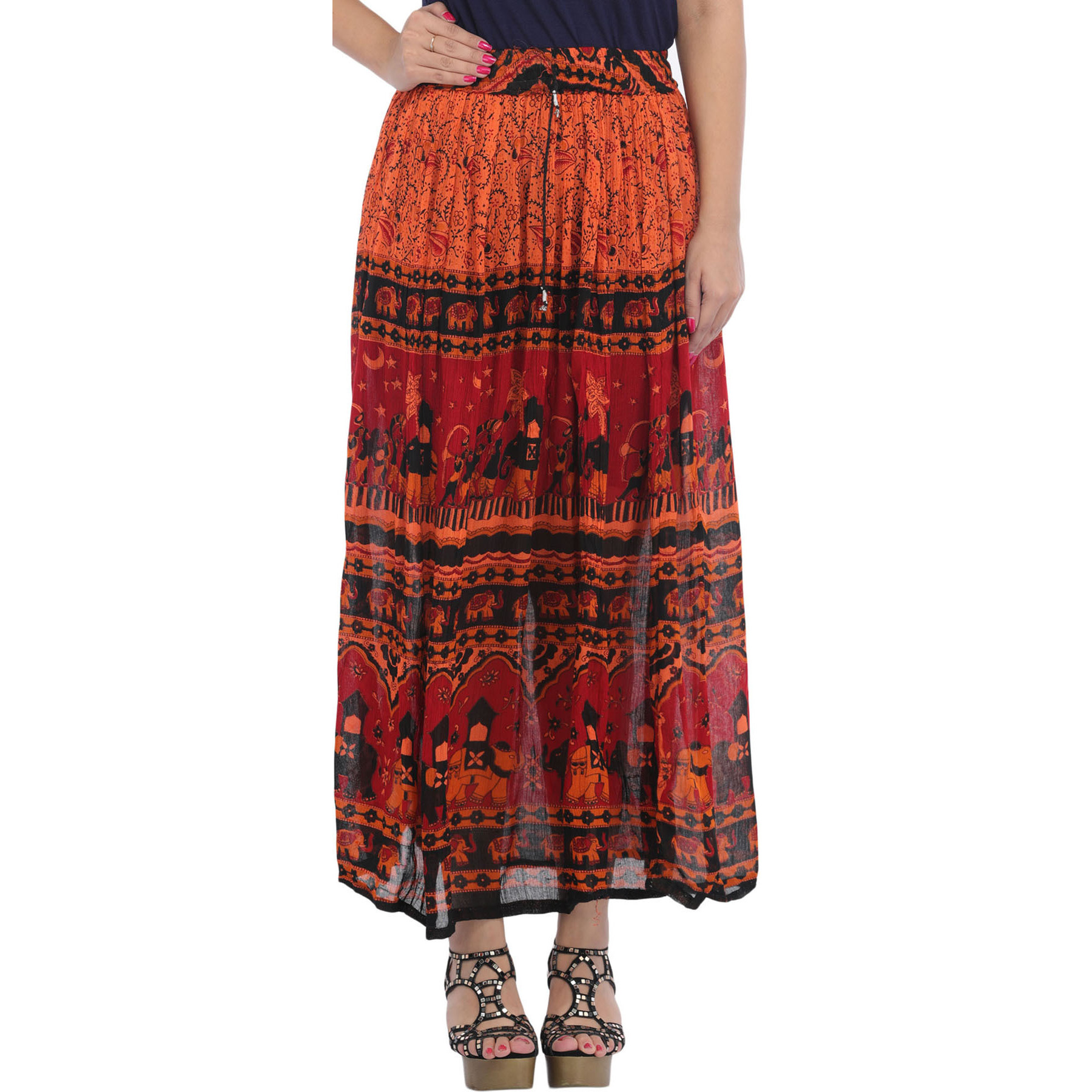 Red and Orange Elastic Long Skirt with Printed Elephants