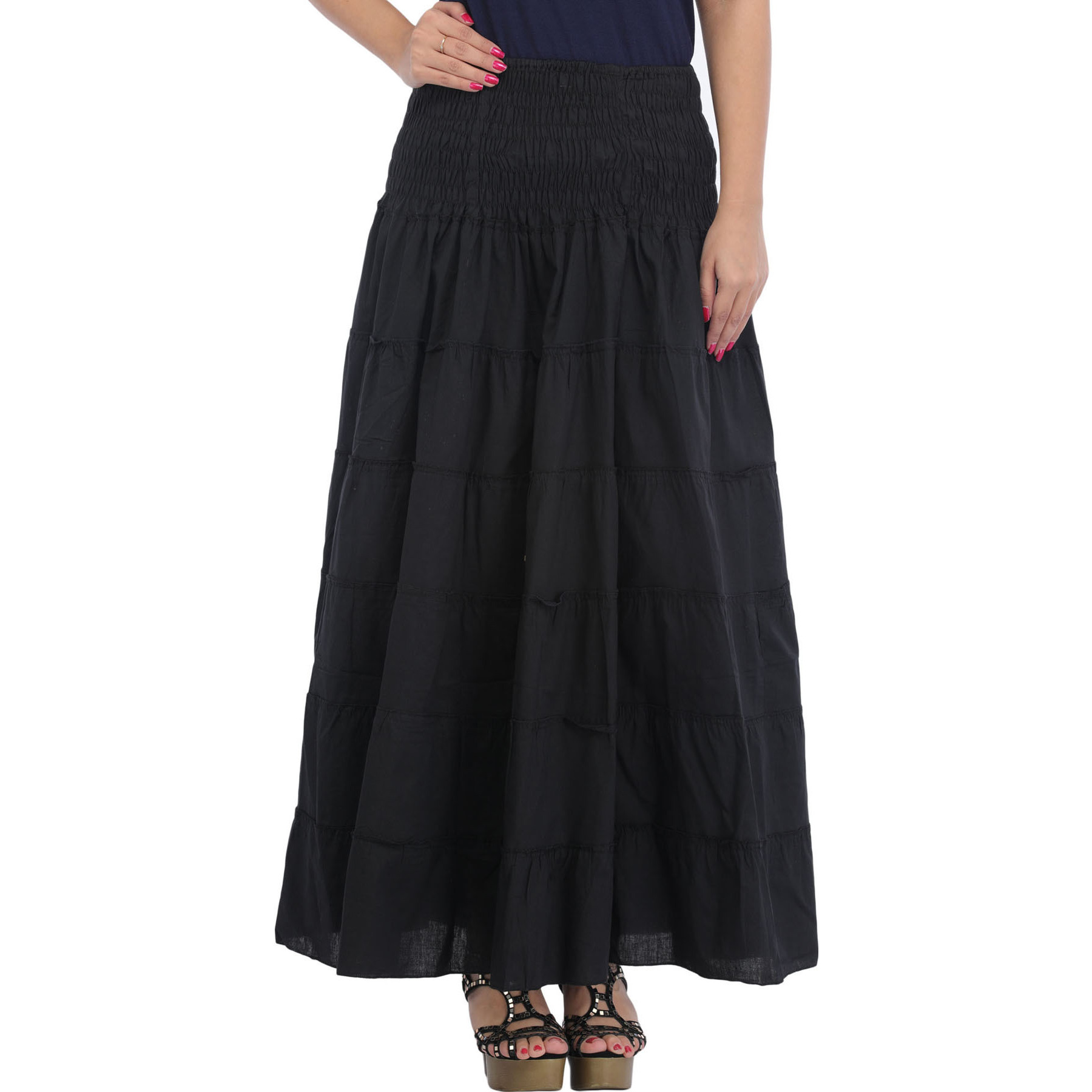 Jet-Black Long Skirt with Wide Elastic Waist