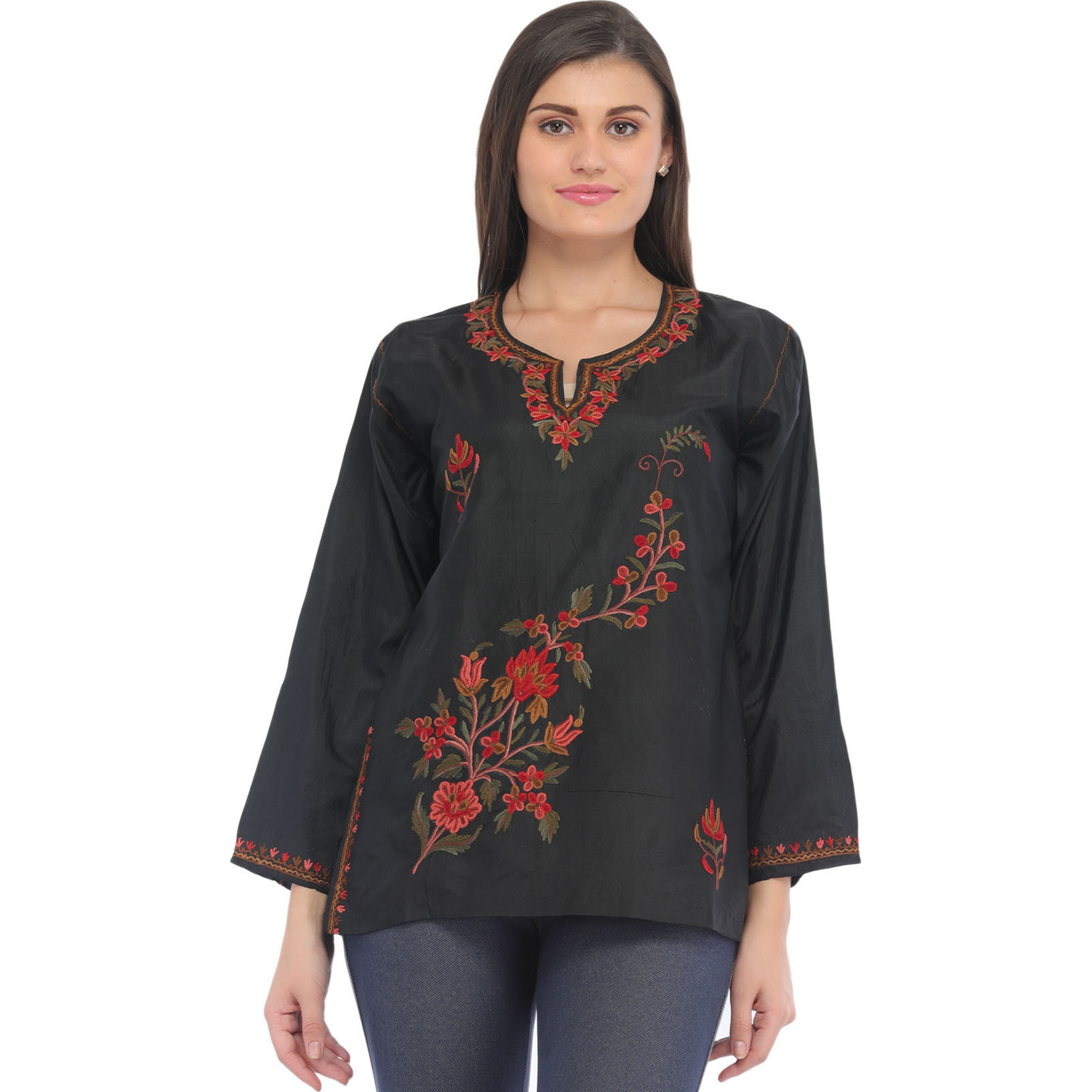 Caviar-Black Ari Short Kurti from Kashmir with Embroidery by Hand