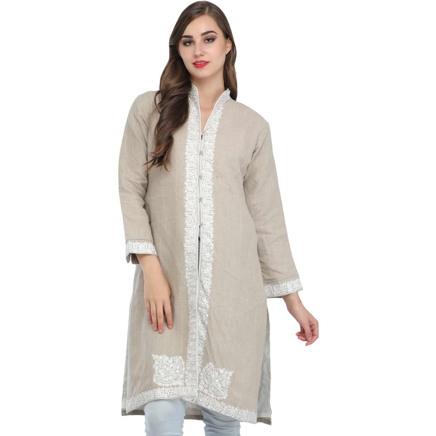 Whitecap-Gray Jacket from Kashmir with Ari-Embroidery on Border