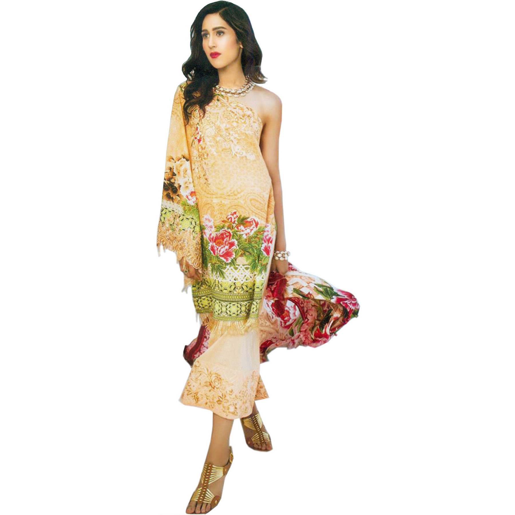 Honey-Peach Stylish Floral Printed Parallel Salwar Suit with Embroidered Patches