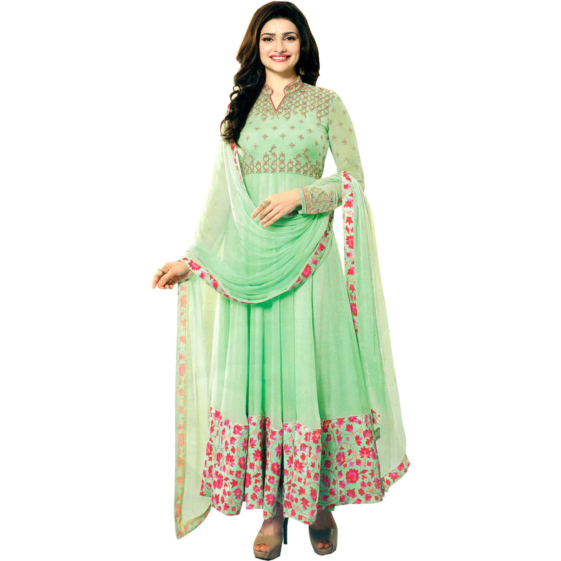 Pastel-Green Prachi Designer Anarkali Suit with Embroidery and Floral Print on Border