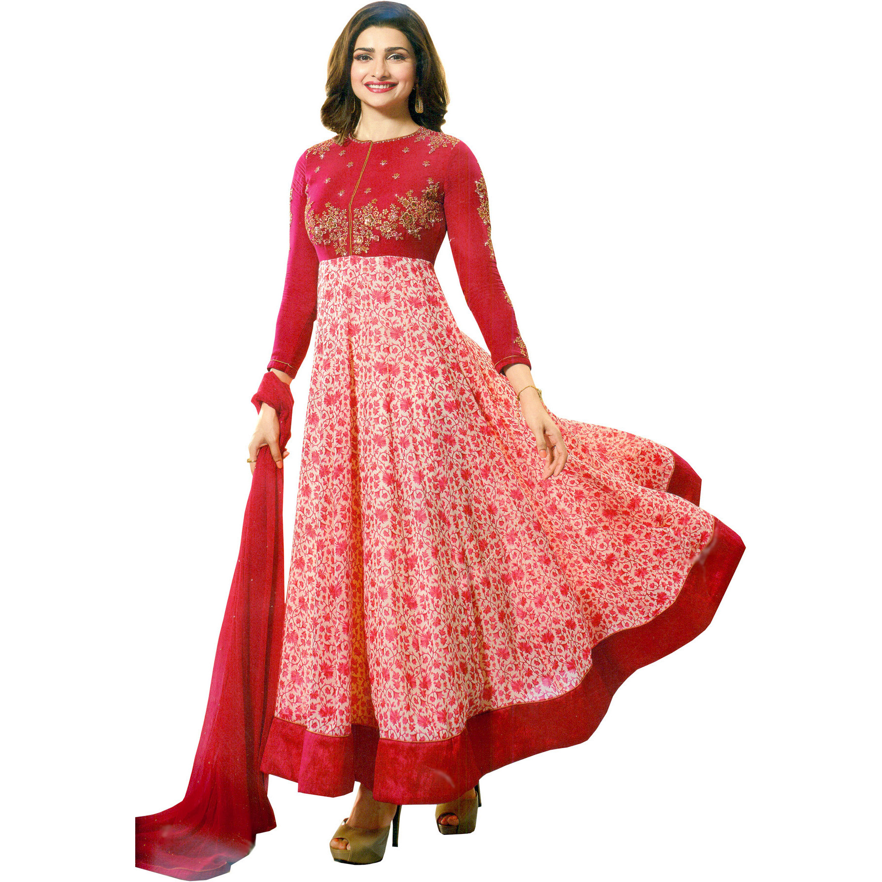 Virtual-Pink Prachi Designer Anarkali Suit with Floral Print and Embroidery
