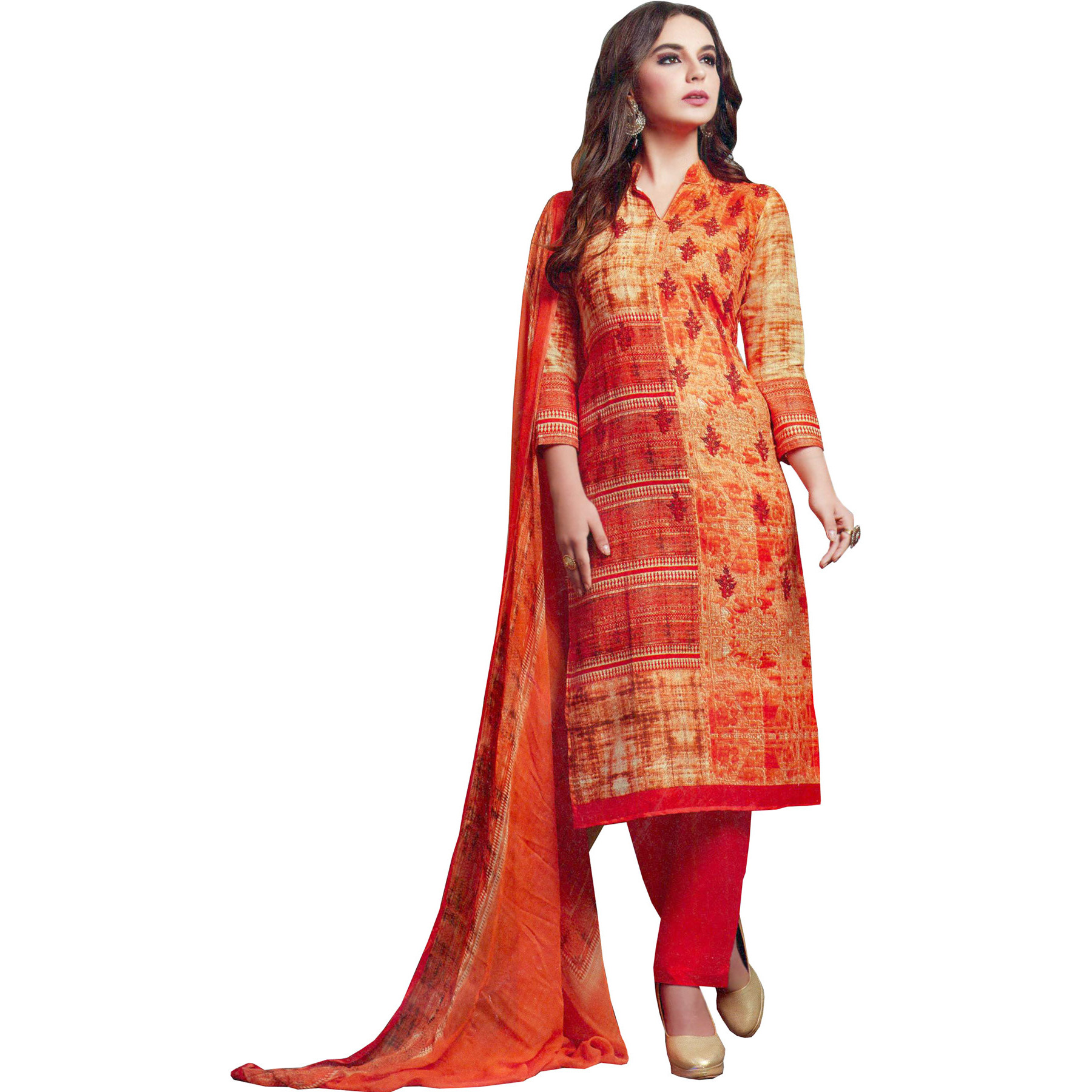 Melon-Orange Printed Parallel Salwar Suit with Embroidered Bootis and Chiffon Dupatta