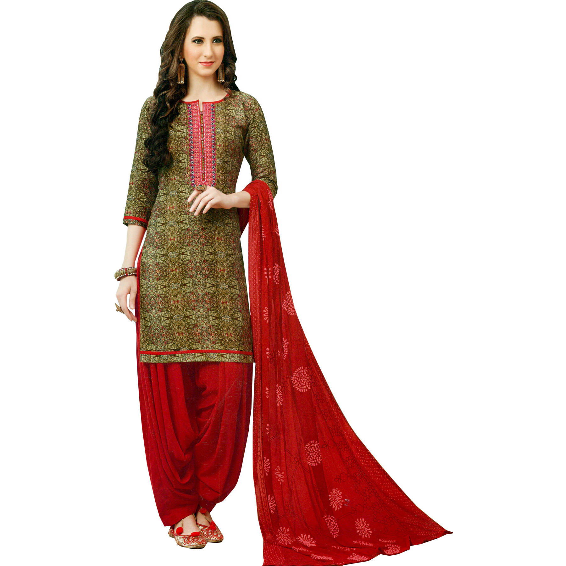 Cornstalk and Red Printed Patiala Salwar Kameez Suit with Embroidered Patch on Neck