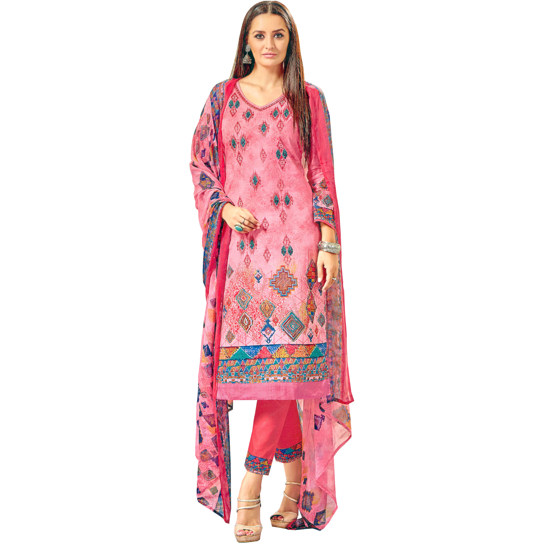 Geranium-Pink Printed Long Parallel Salwar Suit with Embroidery and Chiffon Dupatta