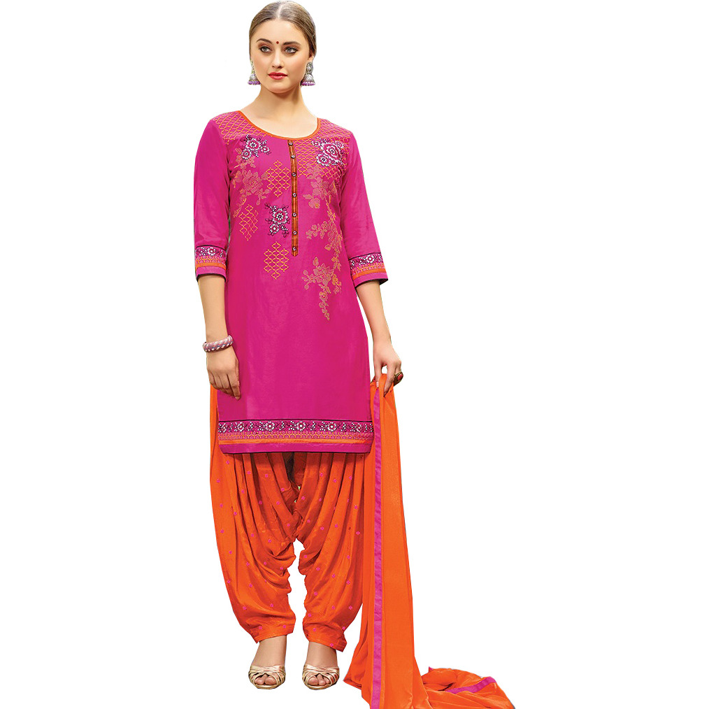 Pink and Orange Embroidered Patiala Salwar Kameez Suit with Chiffon Dupatta