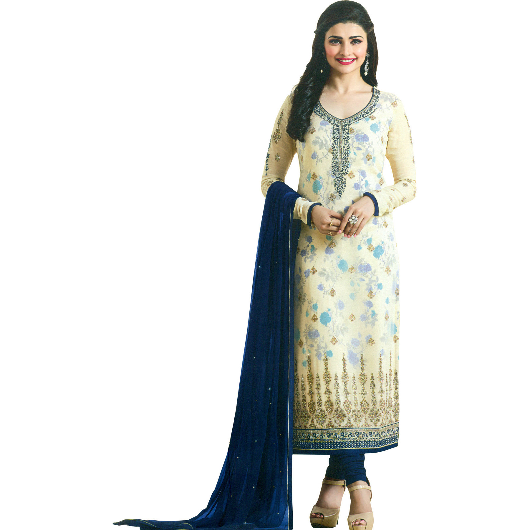 Cream and Blue Prachi Designer Long Choodidaar Kameez Suit with Printed Flowers and Embroidery in Zari Thread